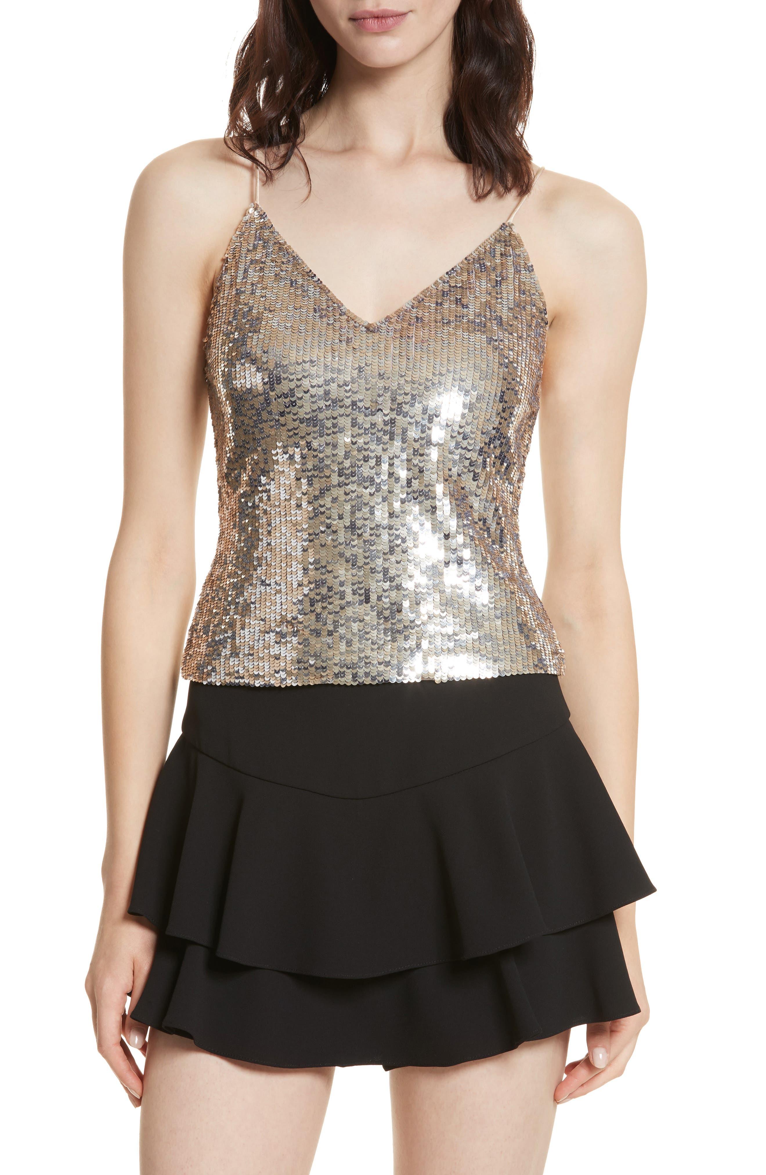 Main Image - Alice + Olivia Delray Sequin Embellished Camisole