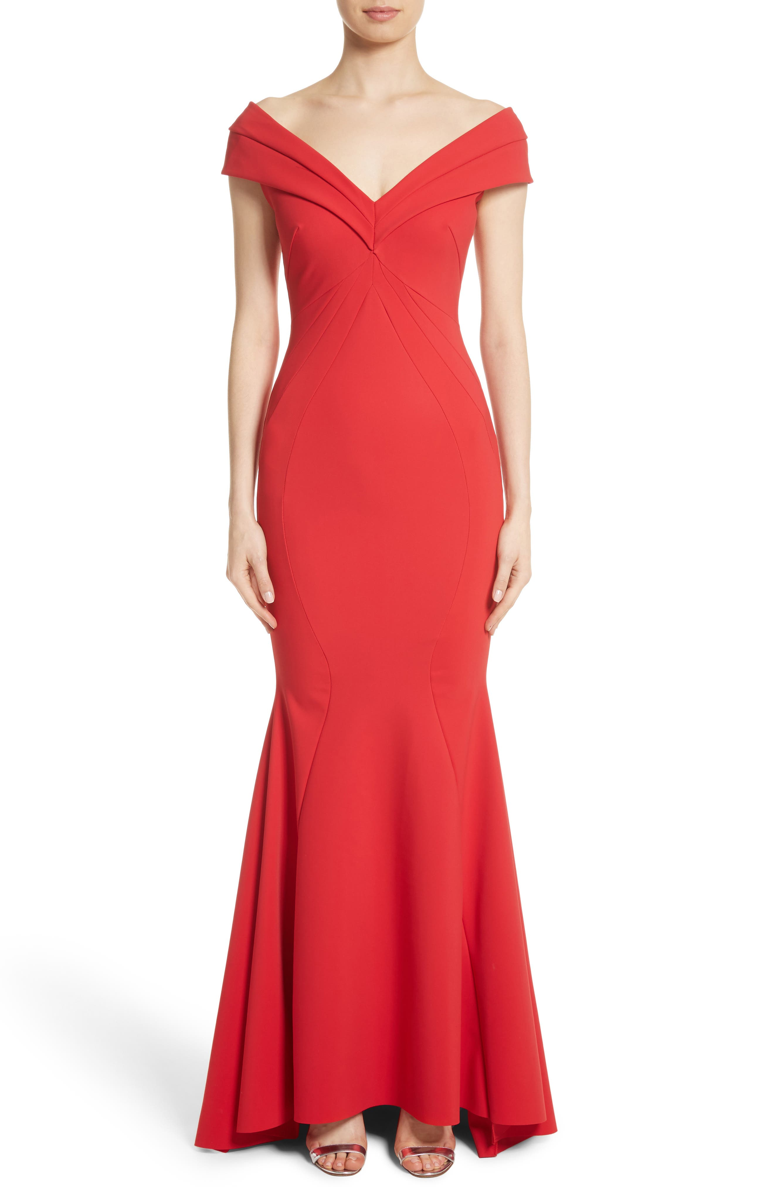 Tally Off the Shoulder Trumpet Gown,                             Main thumbnail 1, color,                             Passion/ Red