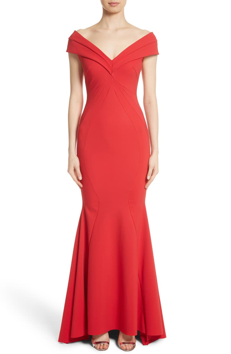 Tally Off the Shoulder Trumpet Gown