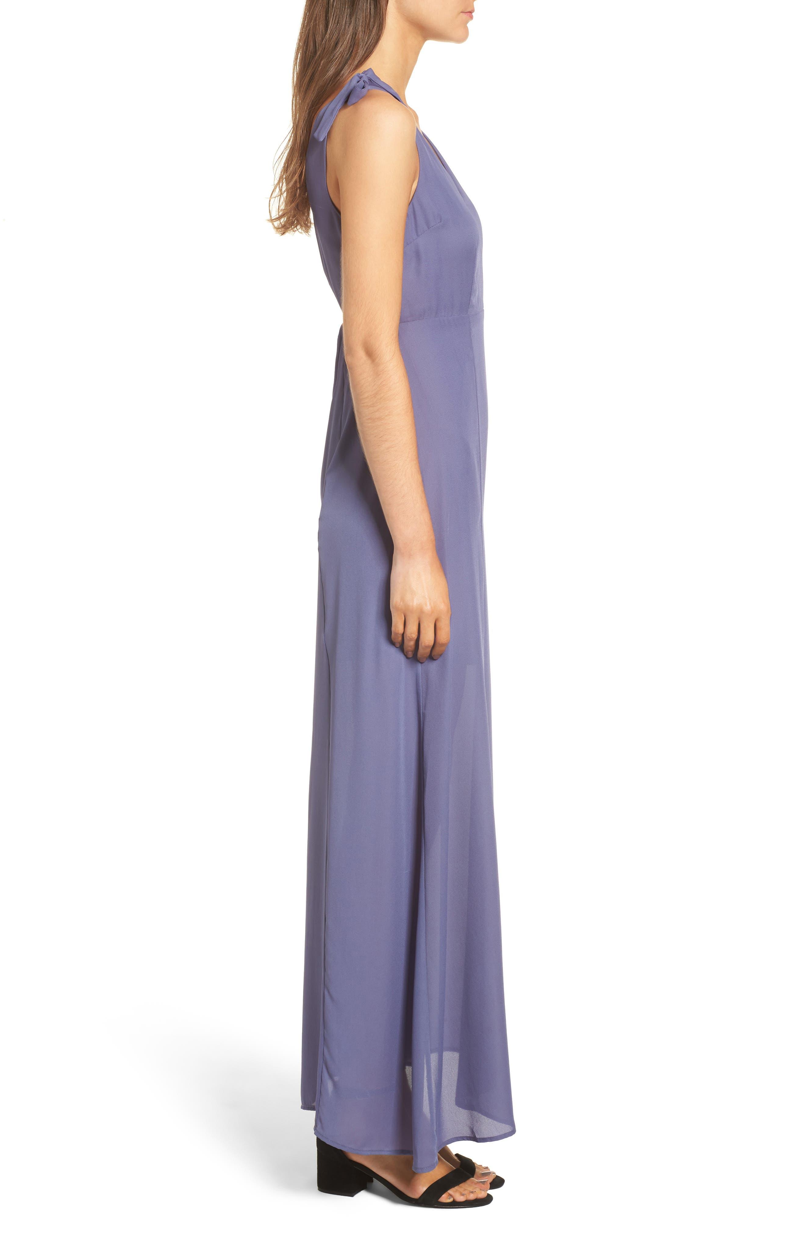 Tie Strap Maxi Dress,                             Alternate thumbnail 3, color,                             Slate