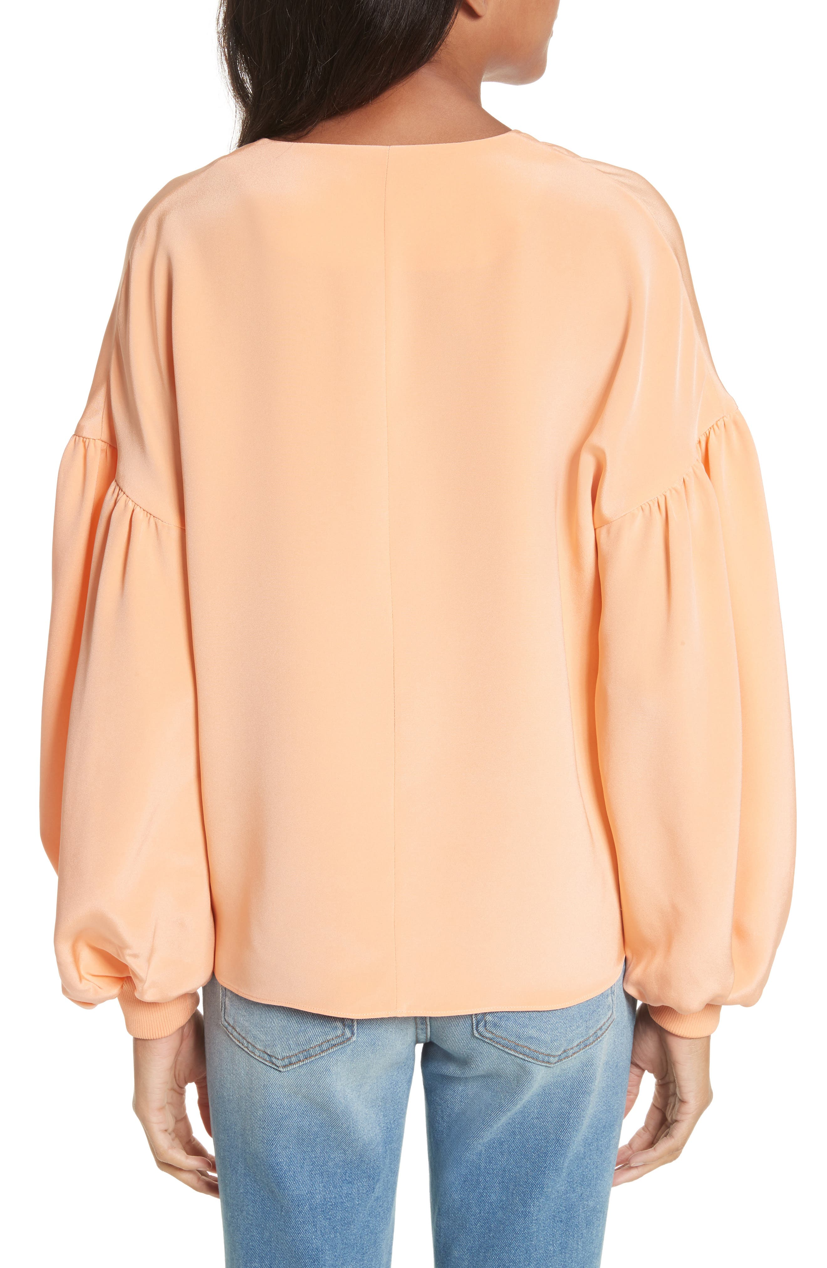 Blouson Sleeve Four-Ply Silk Top,                             Alternate thumbnail 2, color,                             Apricot
