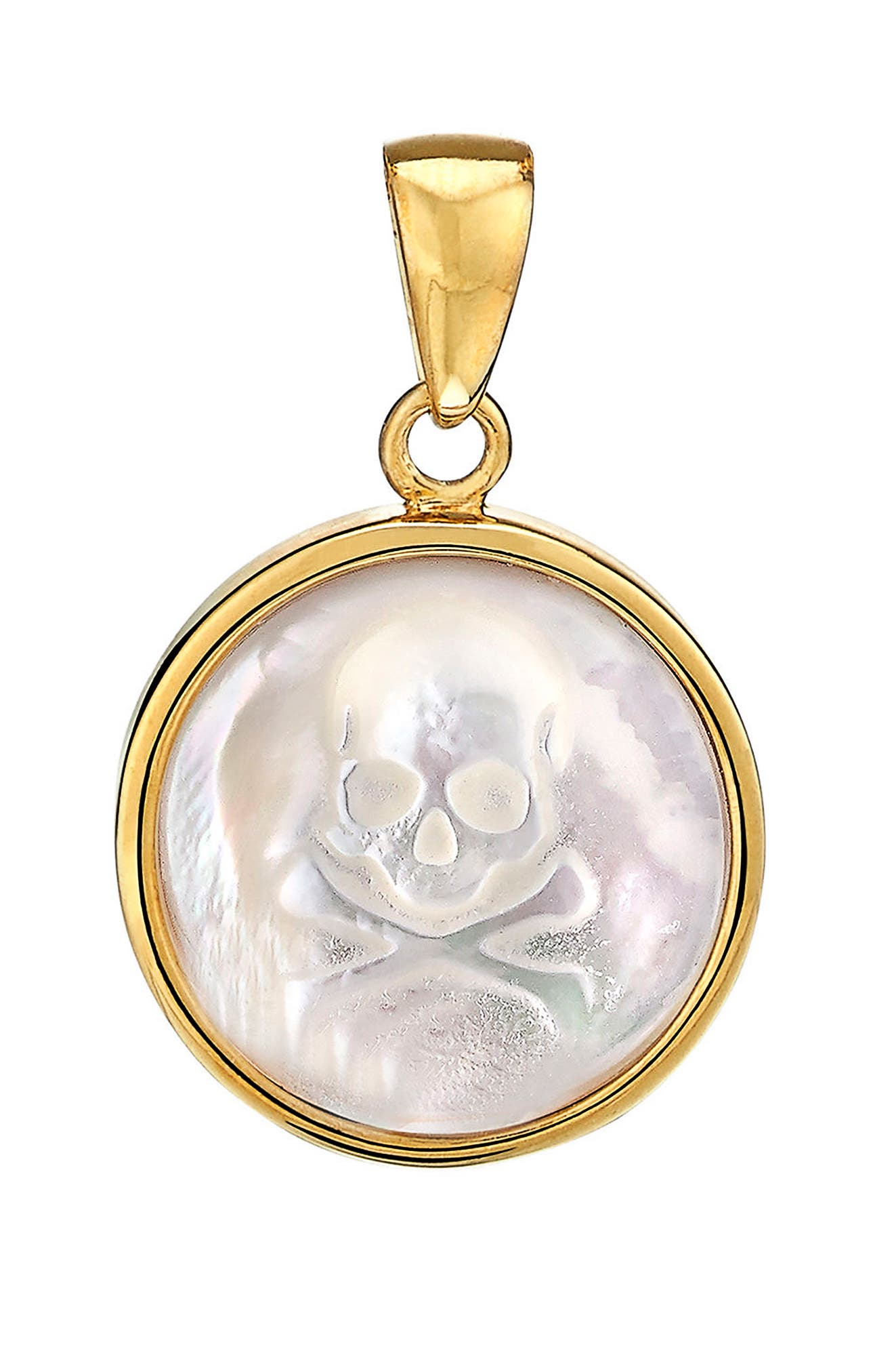 Skull Mother-of-Pearl Charm,                         Main,                         color, Gold - Mother Of Pearl