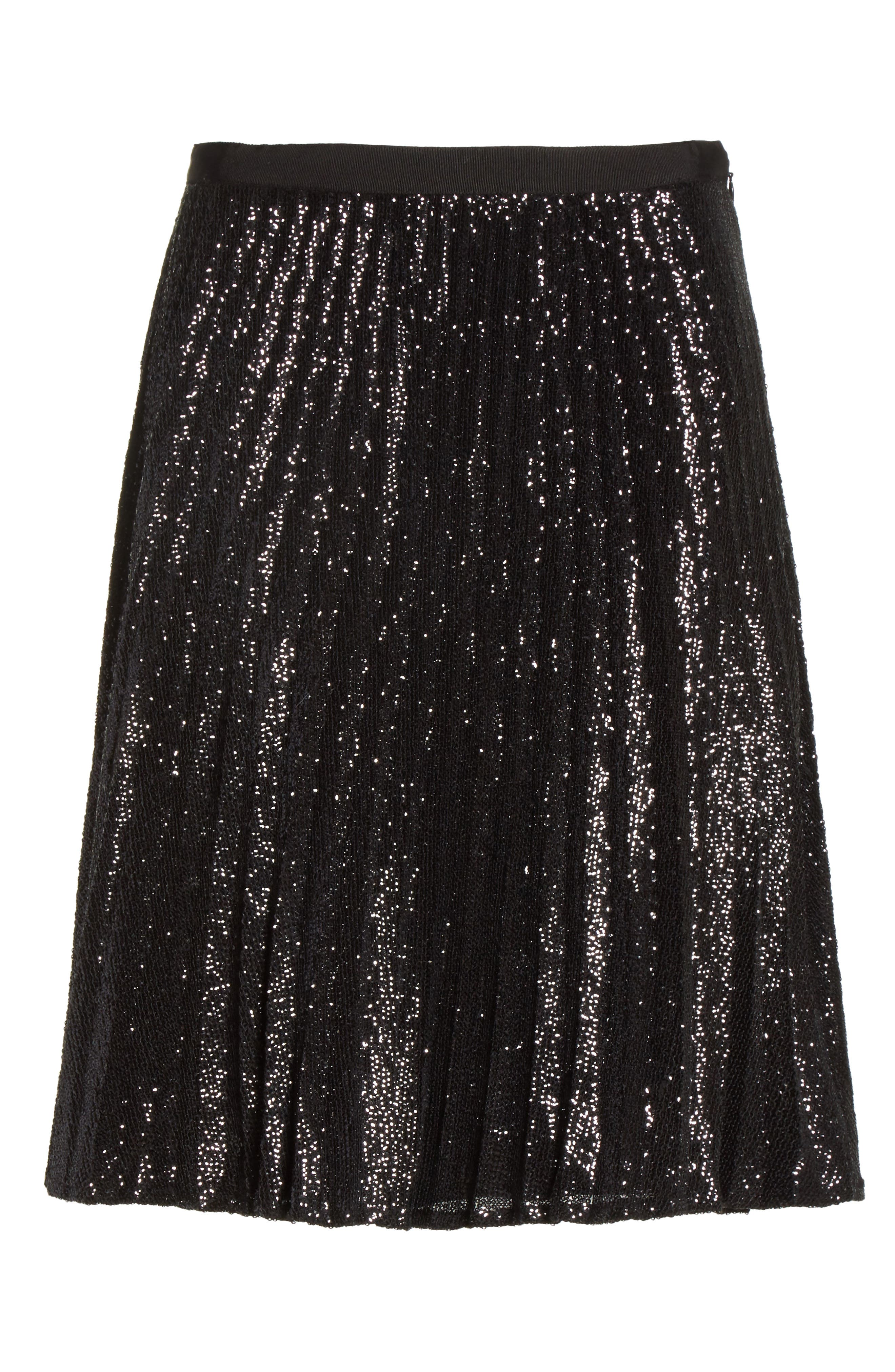 Jadian Metallic Pleat Skirt,                             Alternate thumbnail 6, color,                             Caviar