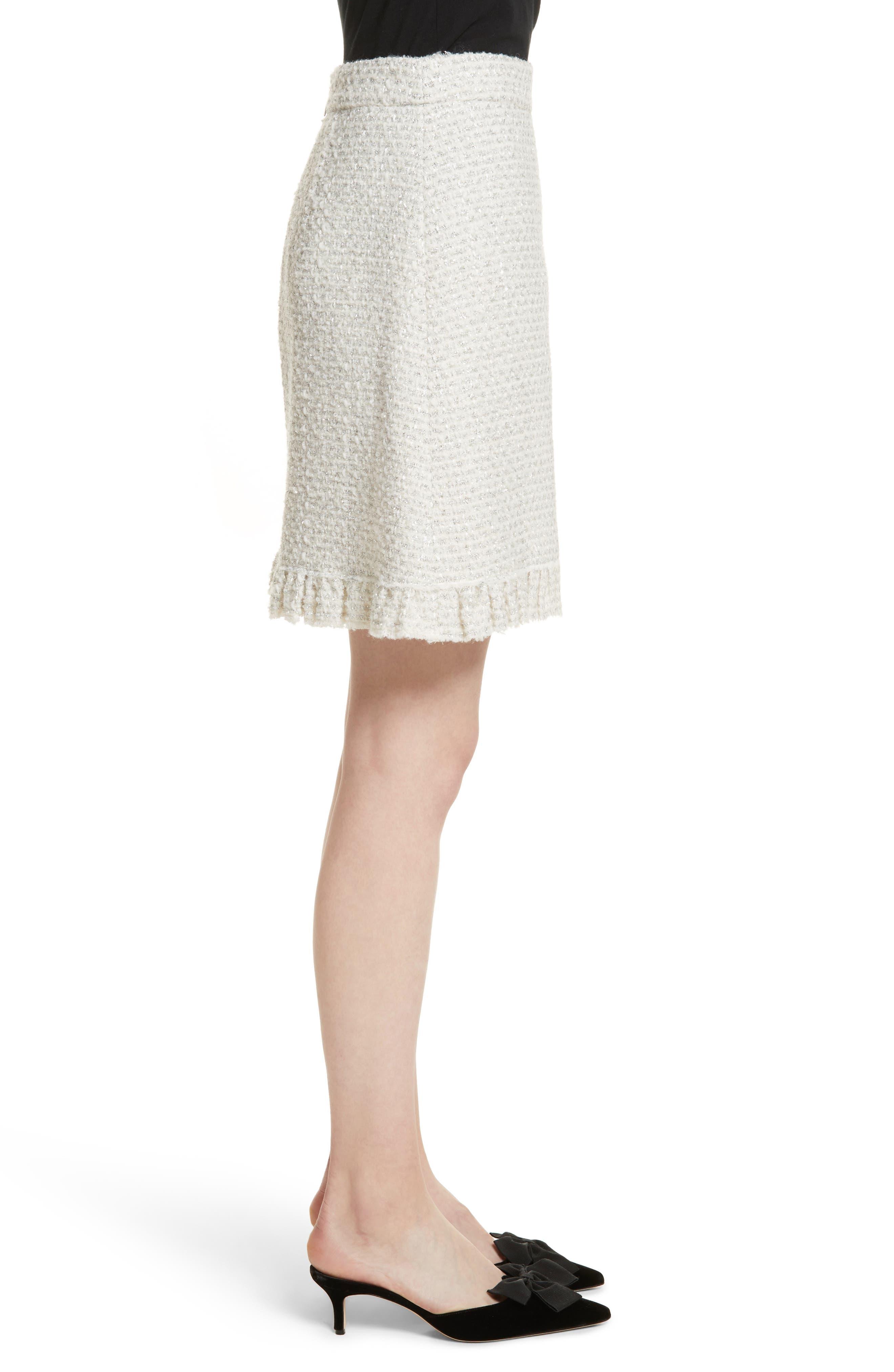 sparkle tweed skirt,                             Alternate thumbnail 3, color,                             Cream