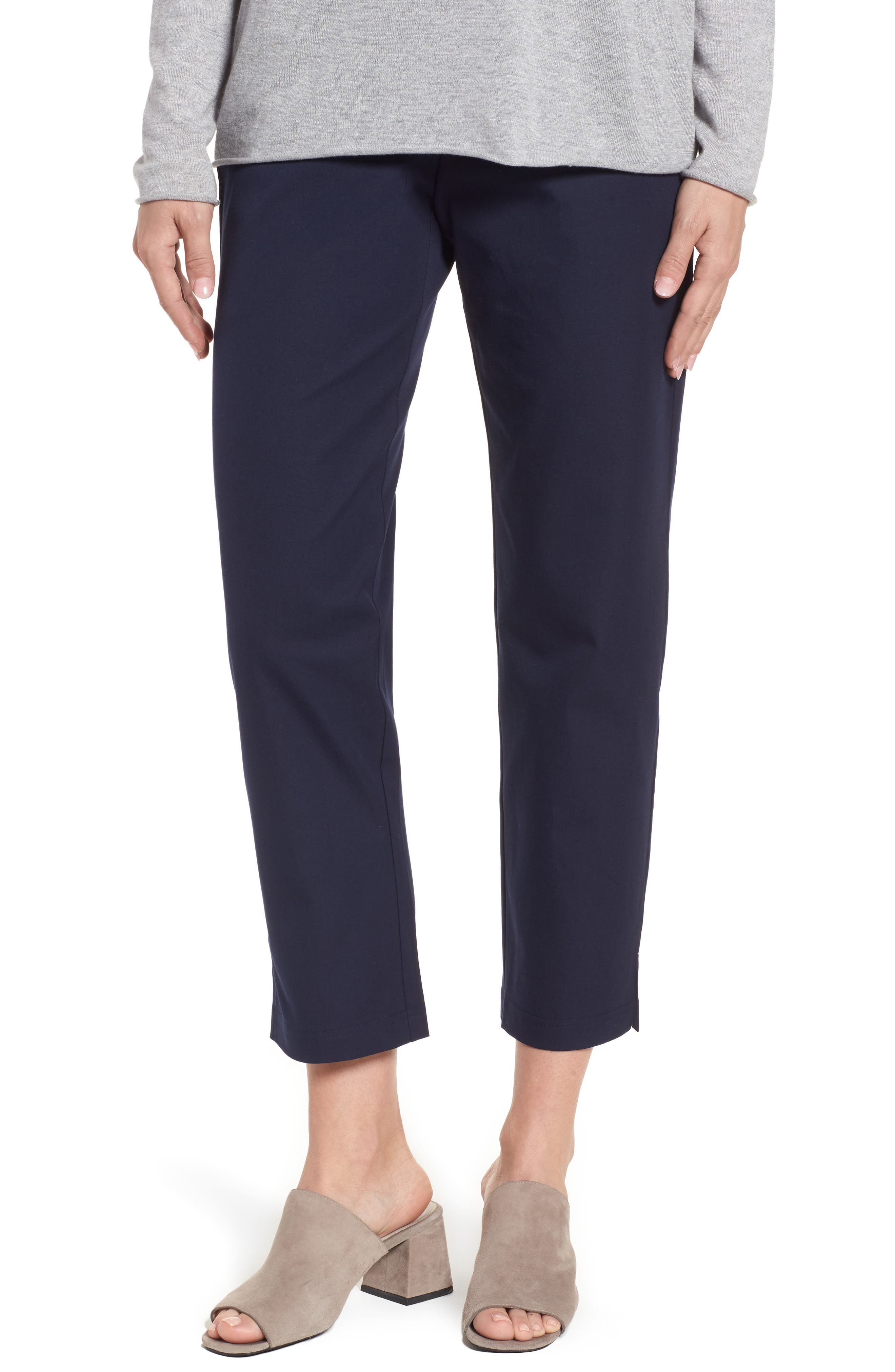 Organic Stretch Cotton Twill Ankle Pants,                         Main,                         color, Midnight