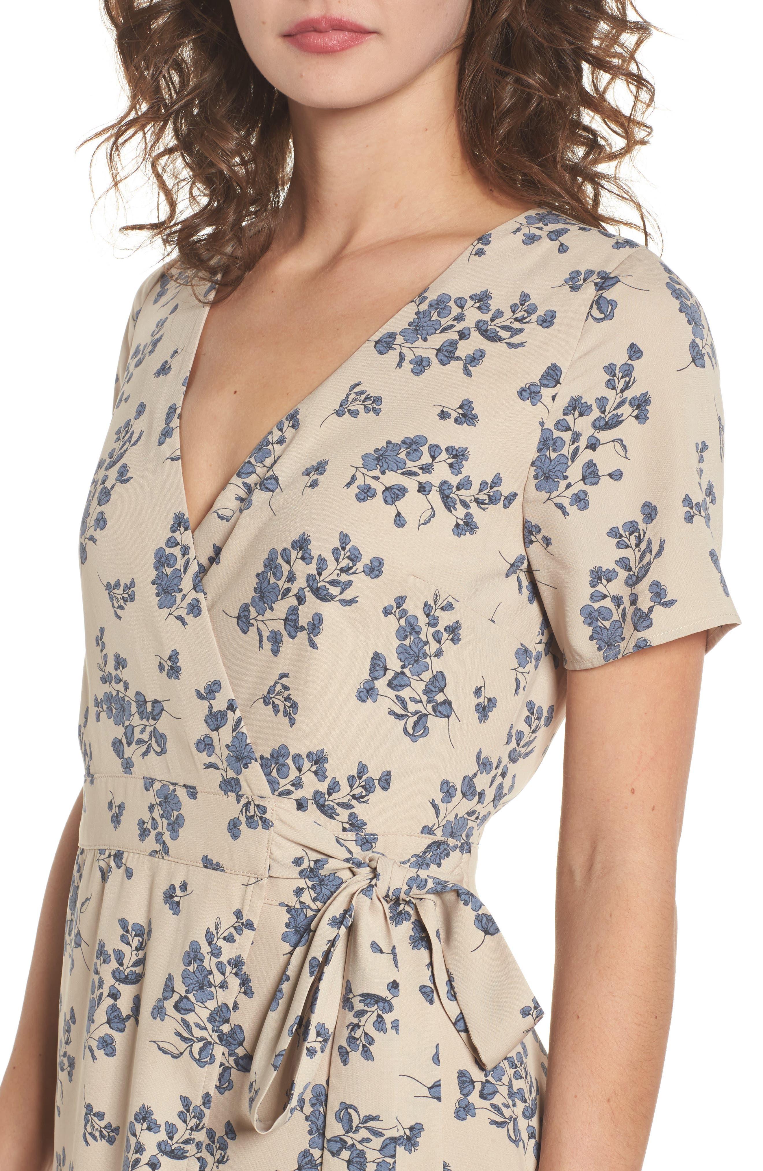 Floral Print Wrap Dress,                             Alternate thumbnail 4, color,                             Taupe Floral