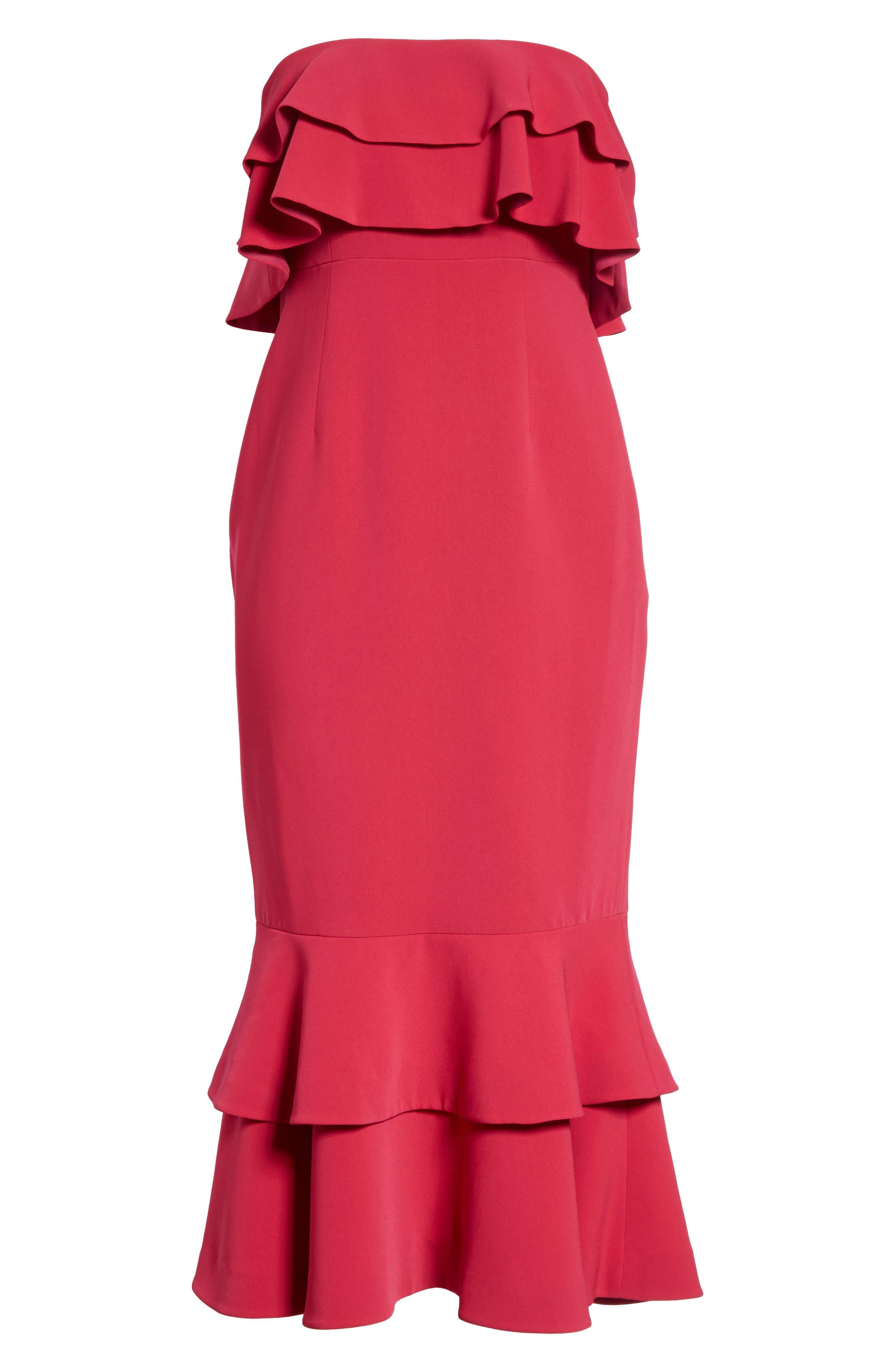 Ezana Ruffle Strapless Mermaid Dress,                             Alternate thumbnail 6, color,                             Cerise