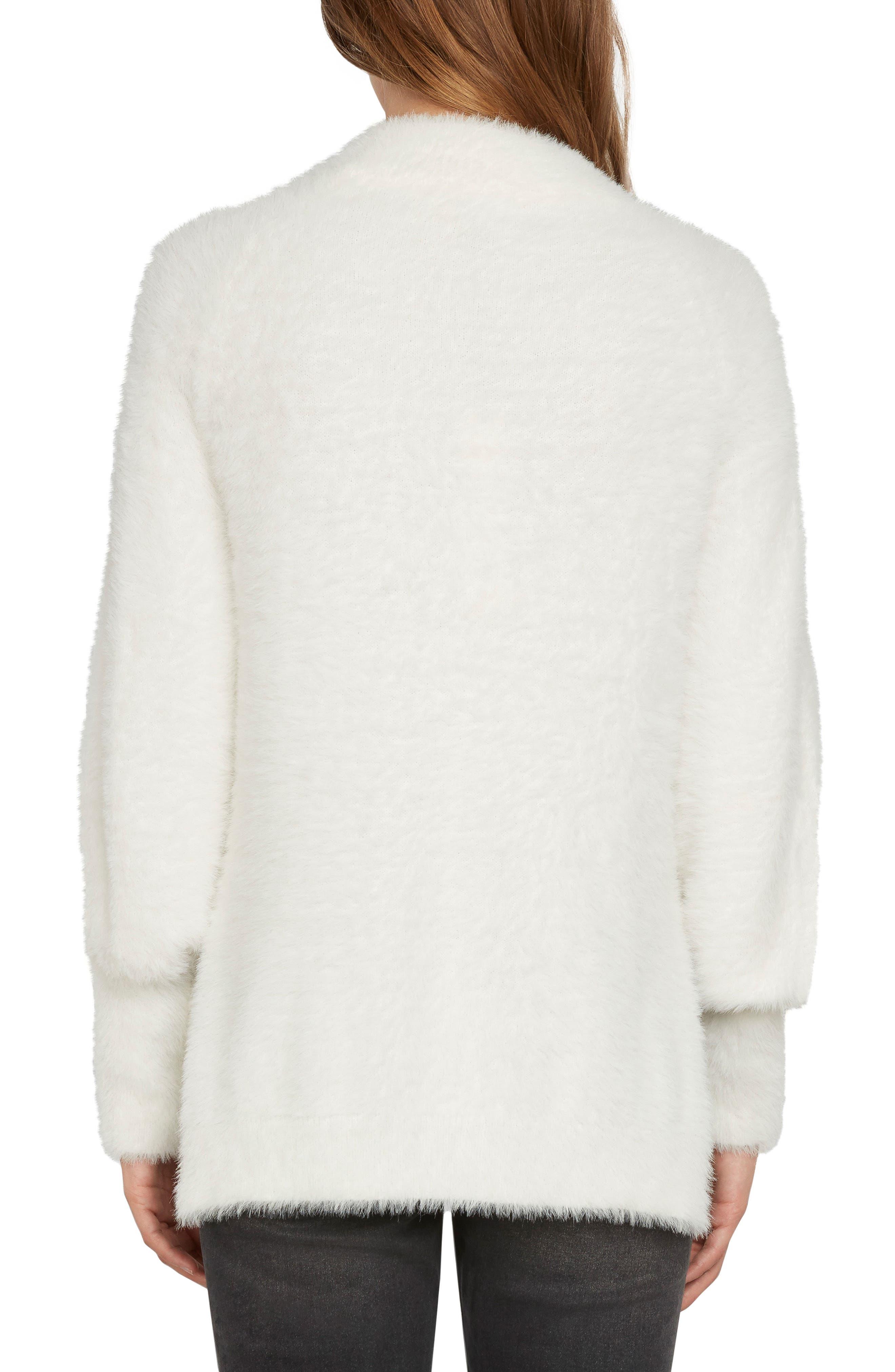Fuzzy Mock Neck Sweater,                             Alternate thumbnail 2, color,                             Vellum