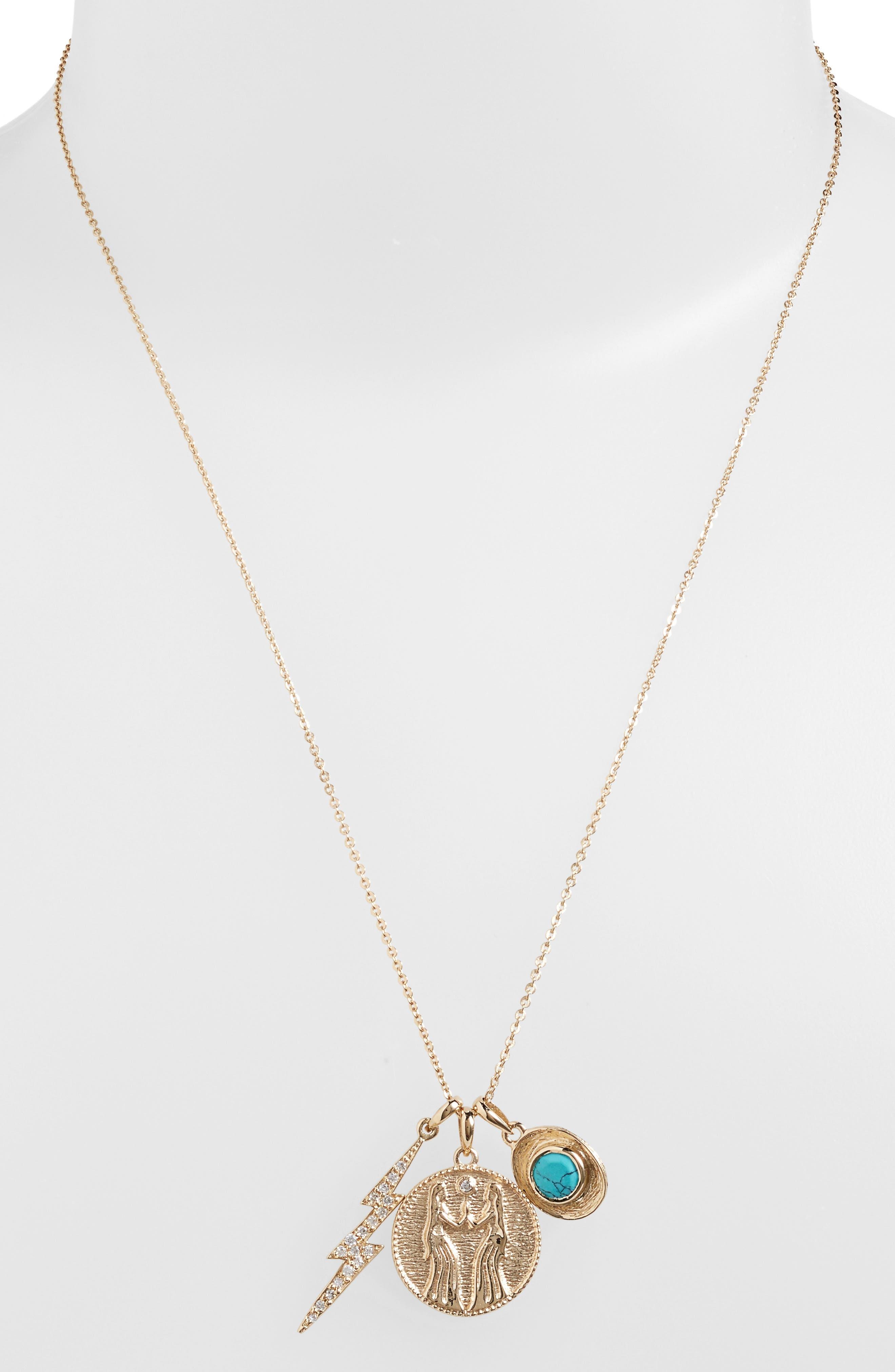 Goddess of Sisterhood Pendant Necklace,                             Alternate thumbnail 2, color,                             Turquoise/ Gold
