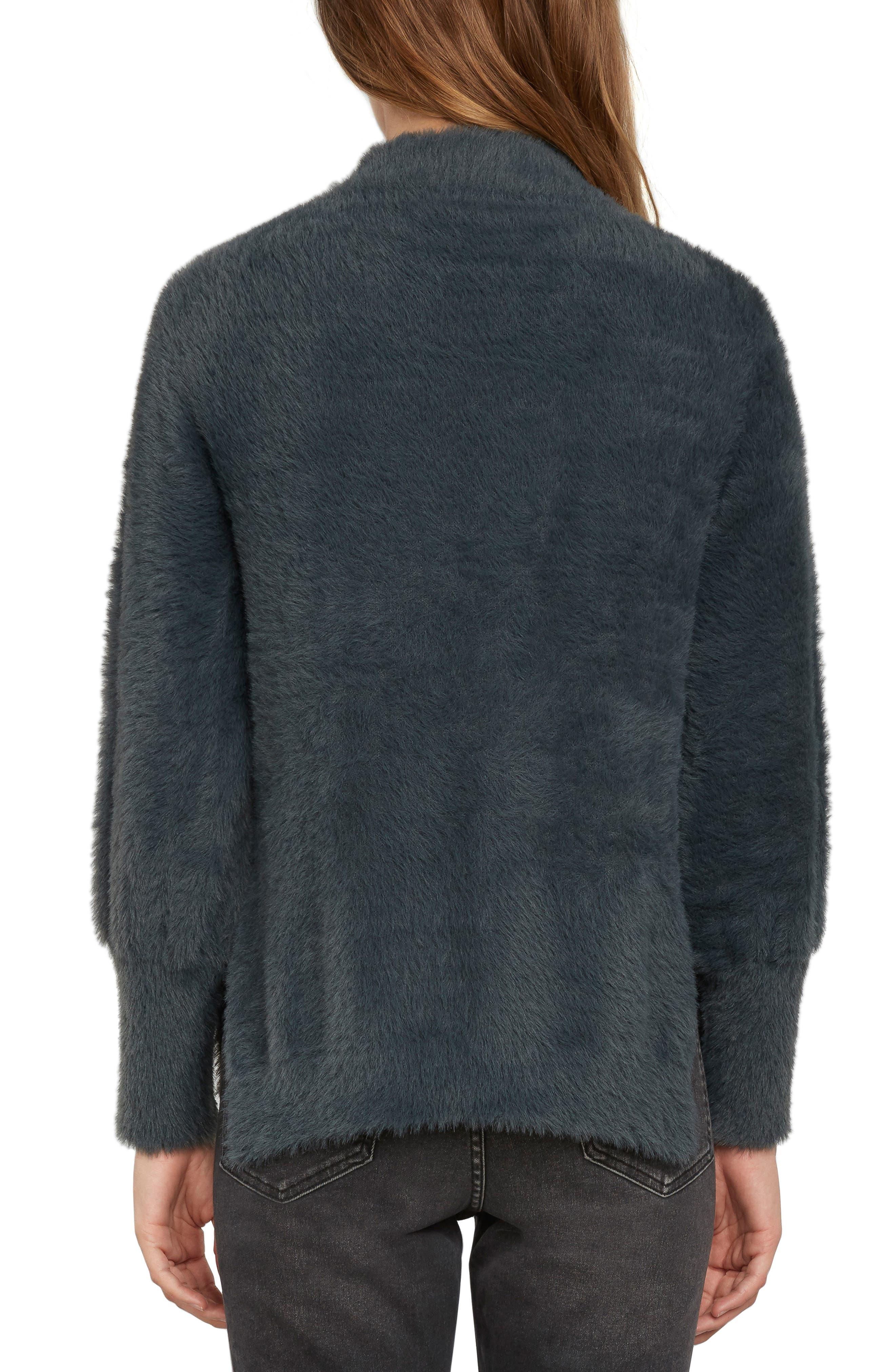 Fuzzy Mock Neck Sweater,                             Alternate thumbnail 2, color,                             Slate