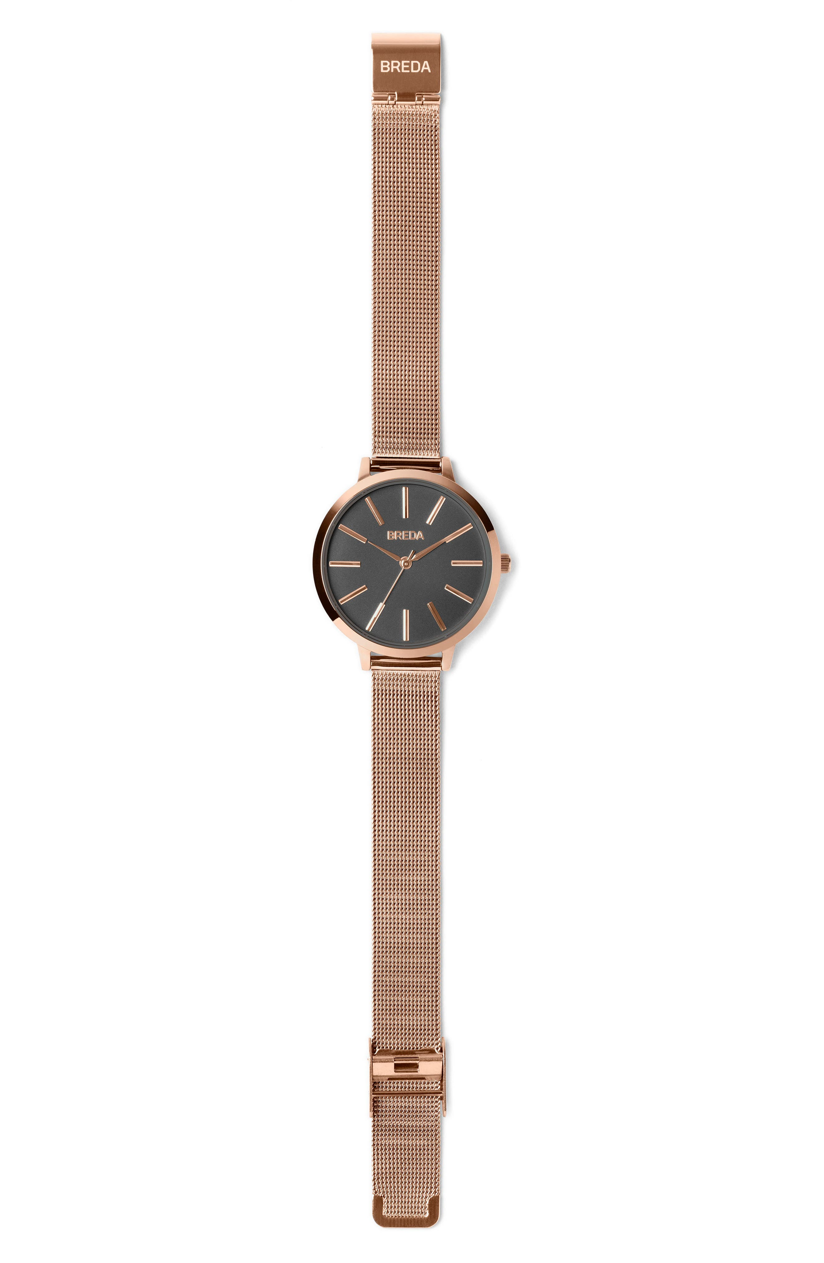 Joule Mesh Strap Watch, 37mm,                             Alternate thumbnail 2, color,                             Rose Gold/ Black/ Rose Gold