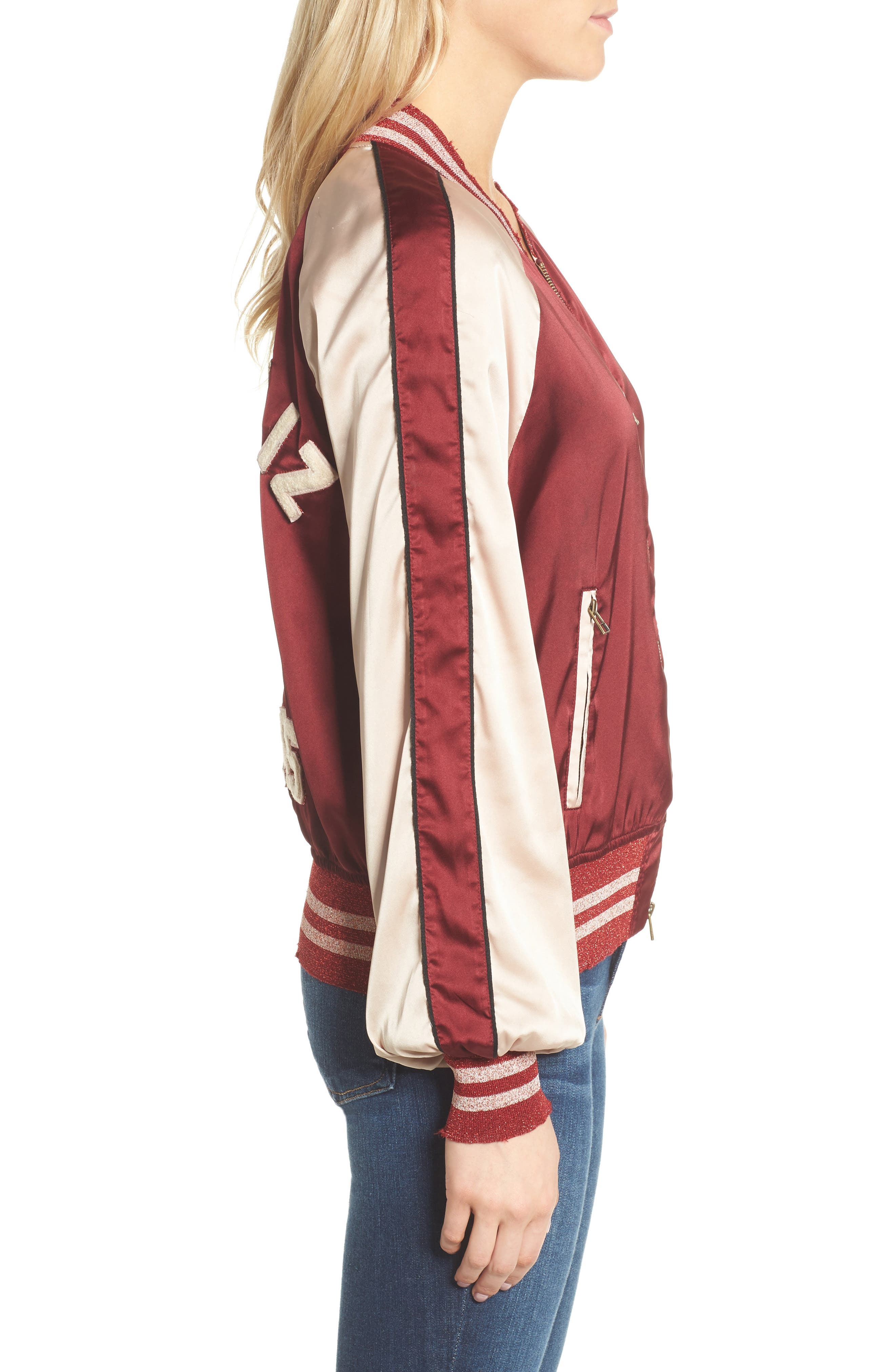 Los Feliz Tigers Bomber Jacket,                             Alternate thumbnail 3, color,                             Maroon