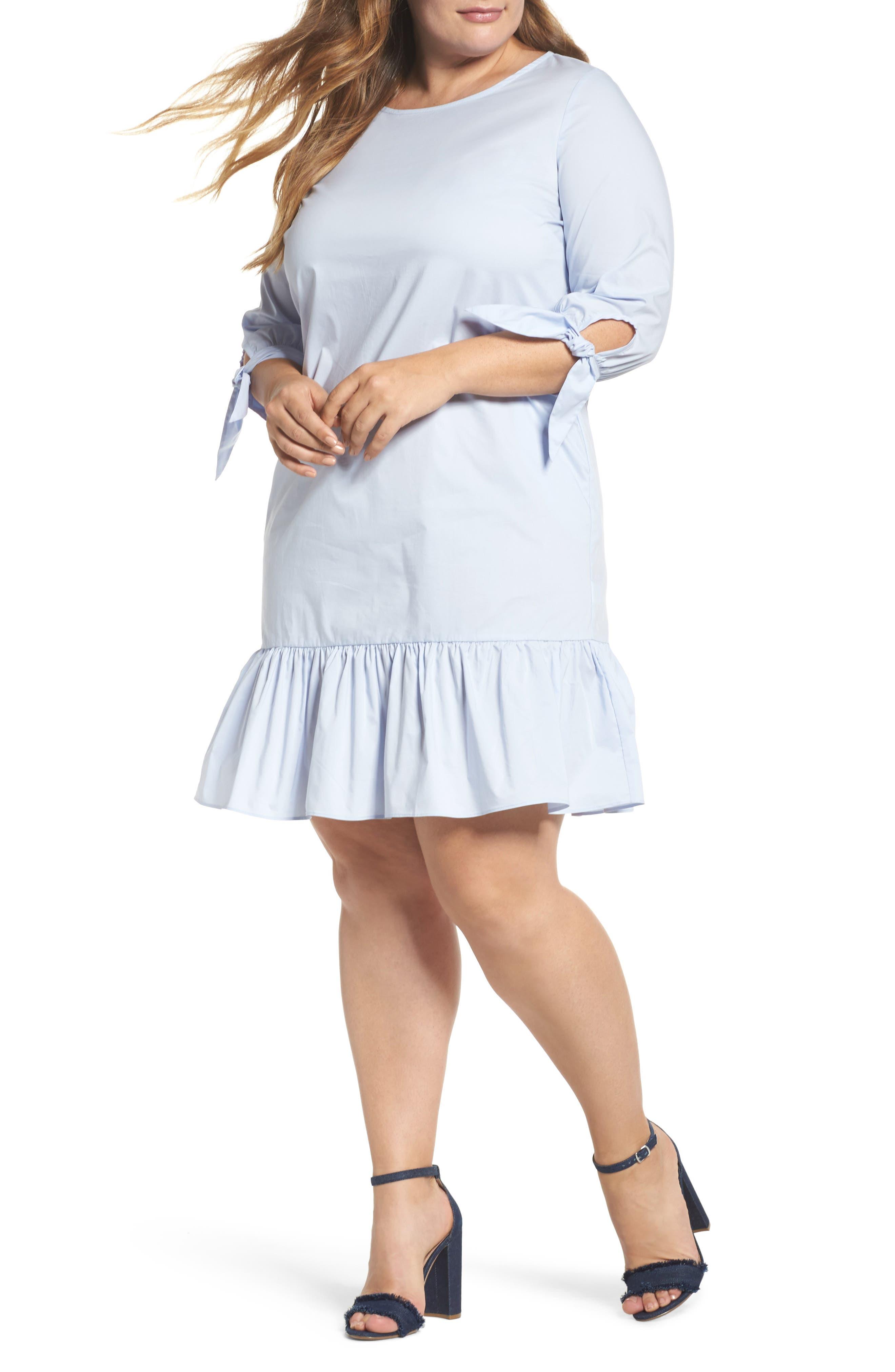Main Image - Glamorous Ruffle Tie Sleeve Dress (Plus Size)