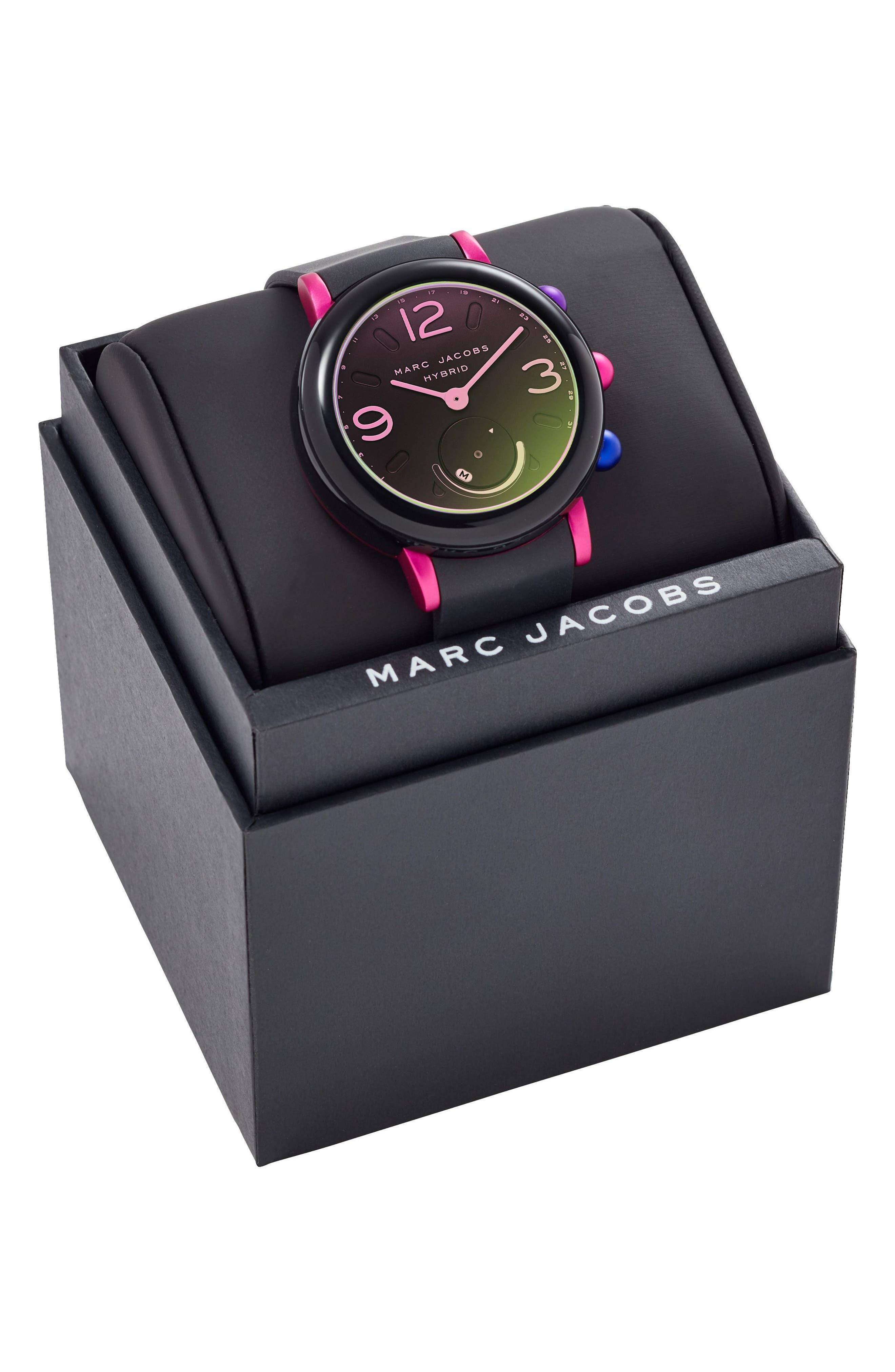 Riley Hybrid Rubber Strap Watch, 42mm,                             Alternate thumbnail 5, color,                             Black/ Pink