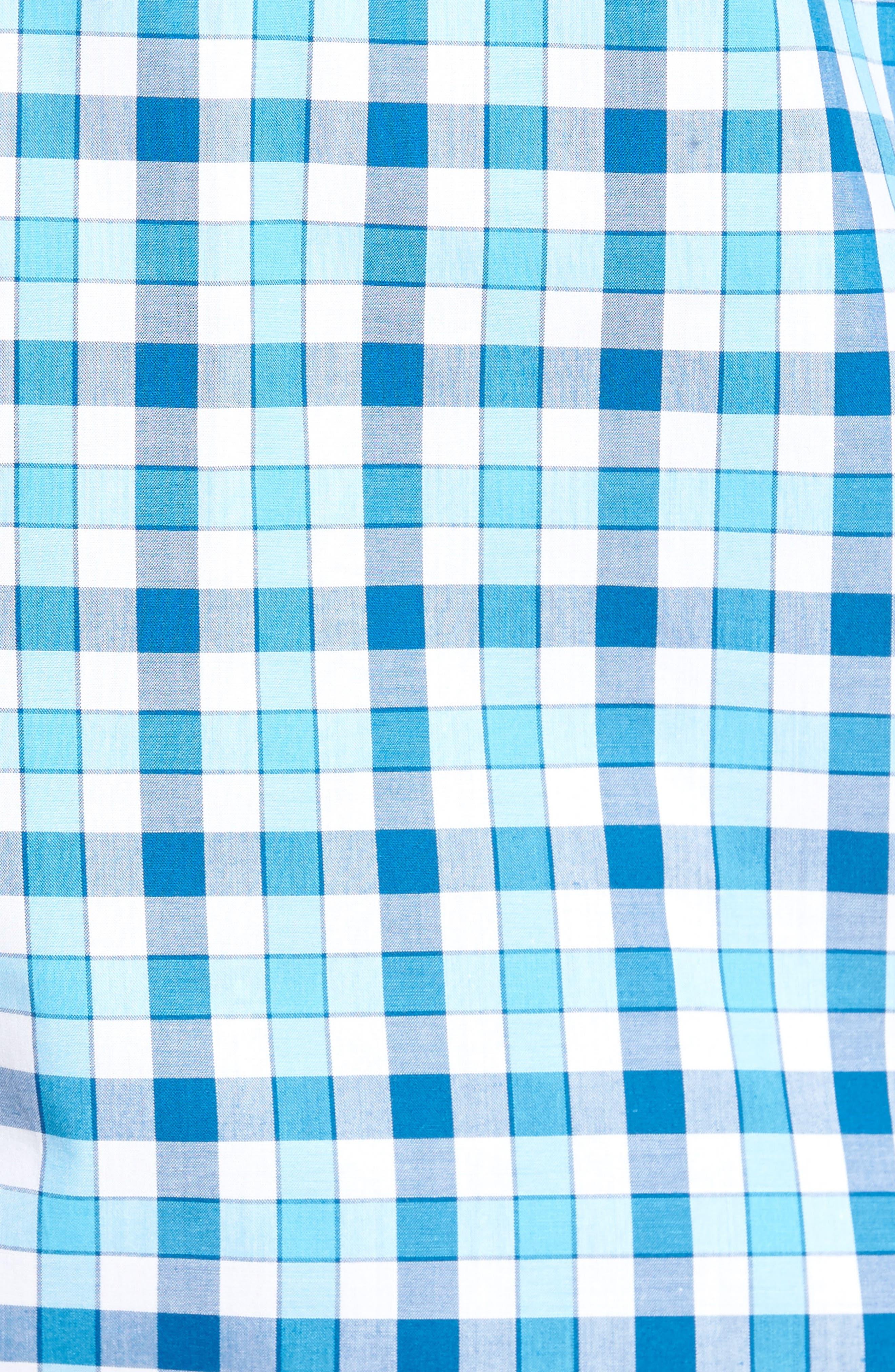 West We Go Regular Fit Plaid Sport Shirt,                             Alternate thumbnail 5, color,                             Aqua