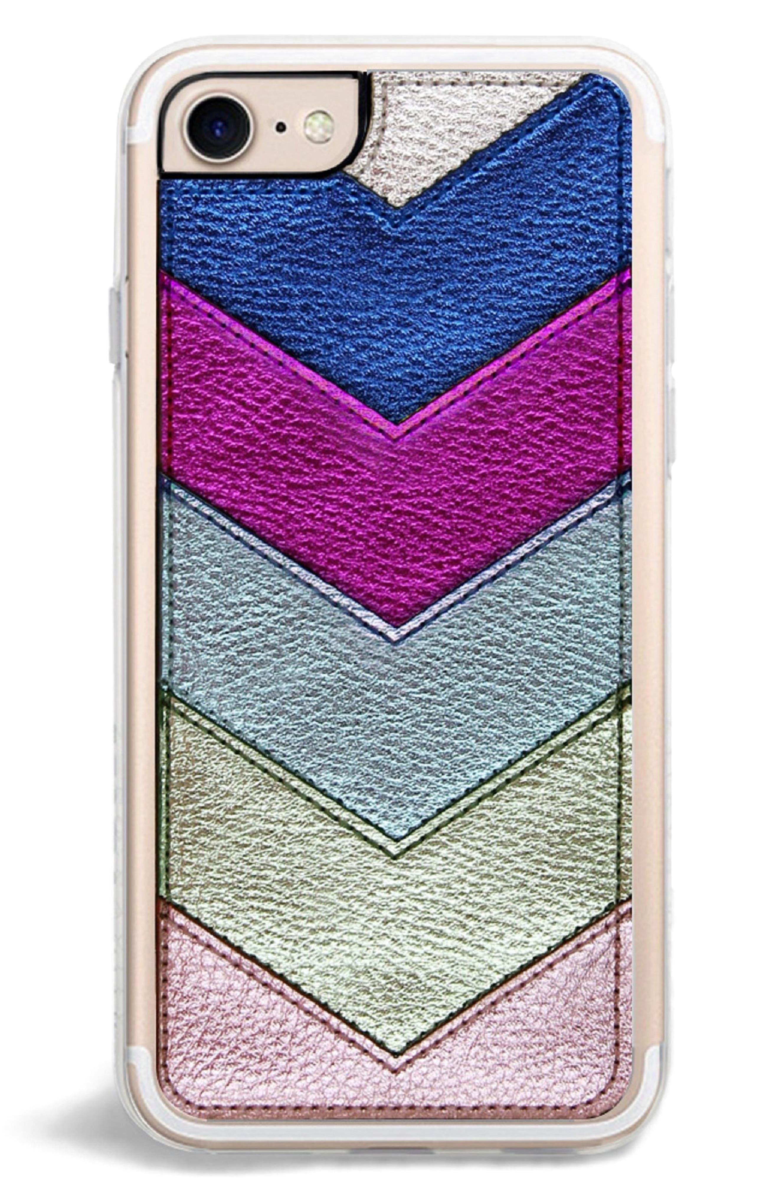 Chevron Faux Leather iPhone 6/6s/7/8 & 6/6s/7/8 Plus Case,                             Alternate thumbnail 3, color,                             Metallic Multi