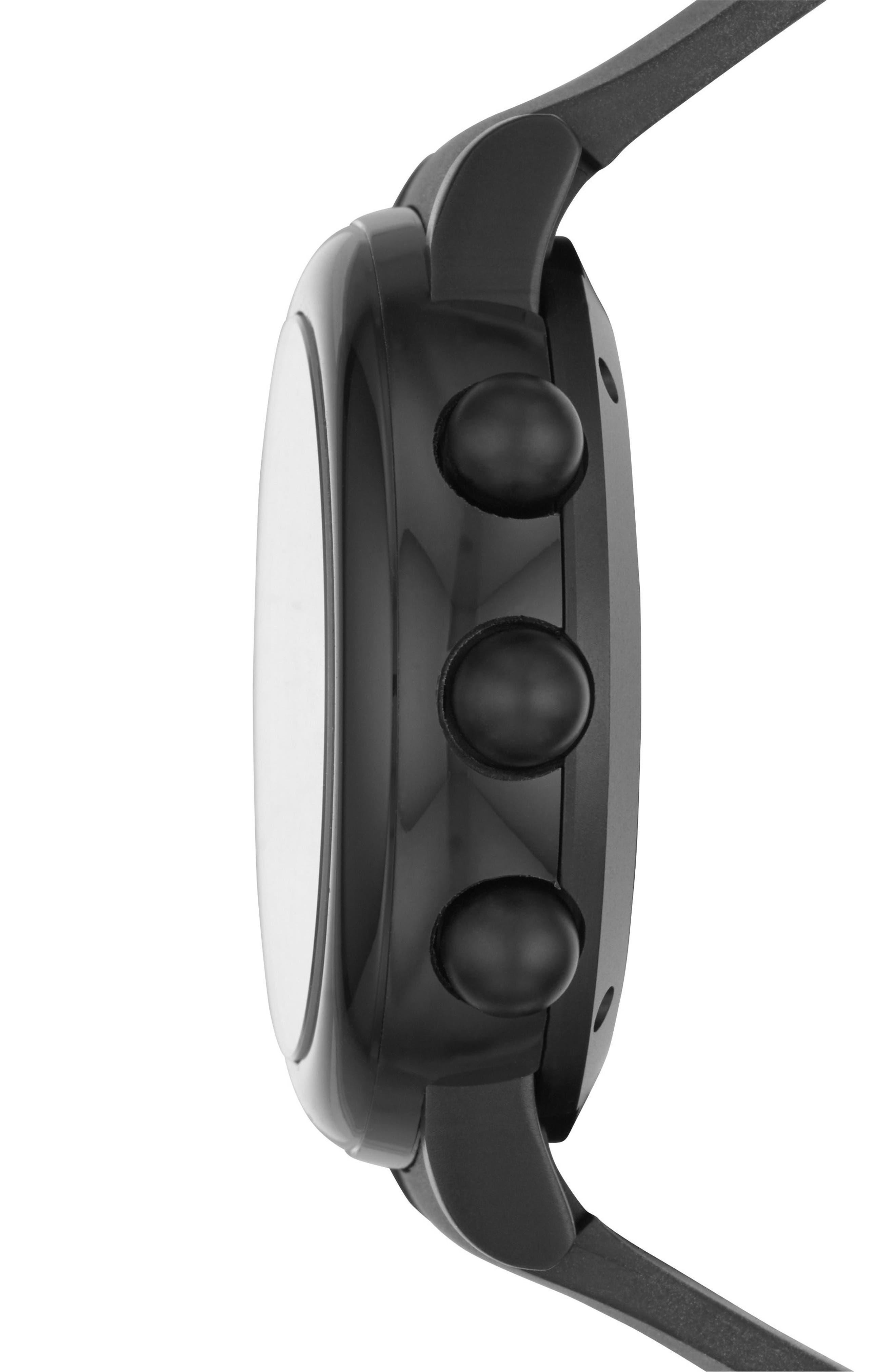Riley Hybrid Rubber Strap Watch, 42mm,                             Alternate thumbnail 4, color,                             Black