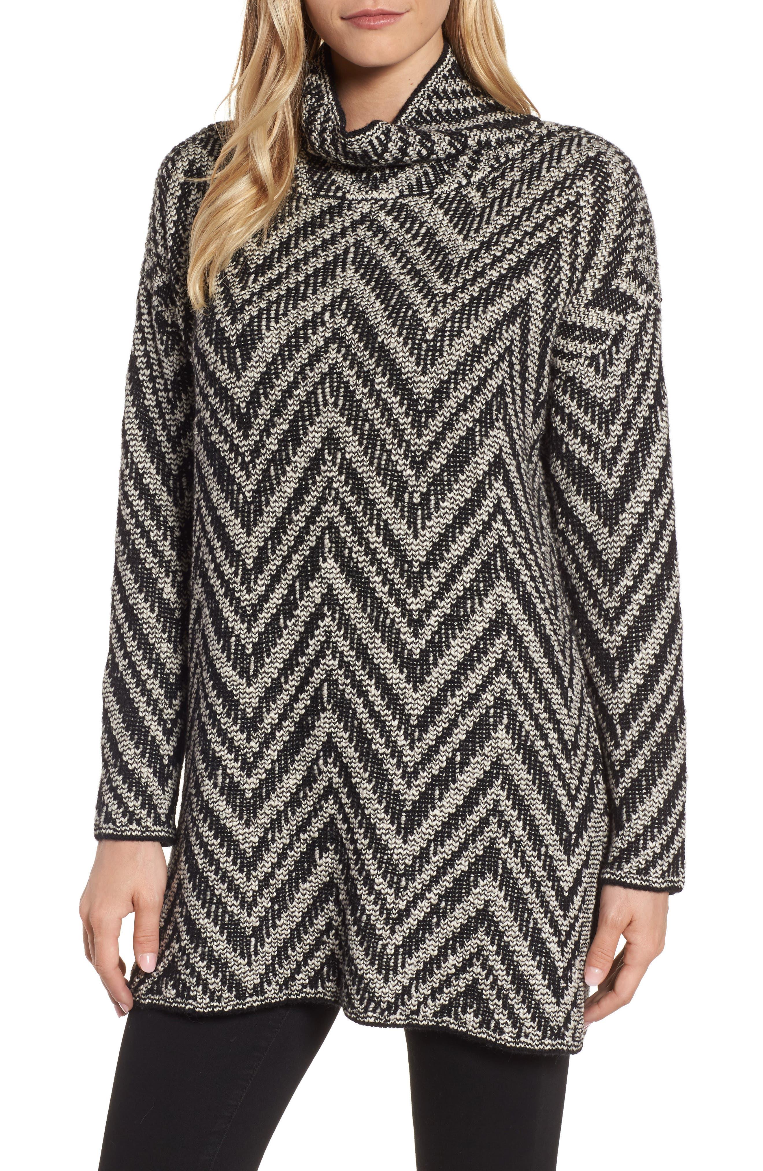 Zigzag Organic Cotton & Alpaca Tunic Sweater,                             Main thumbnail 1, color,                             Black/ Soft White