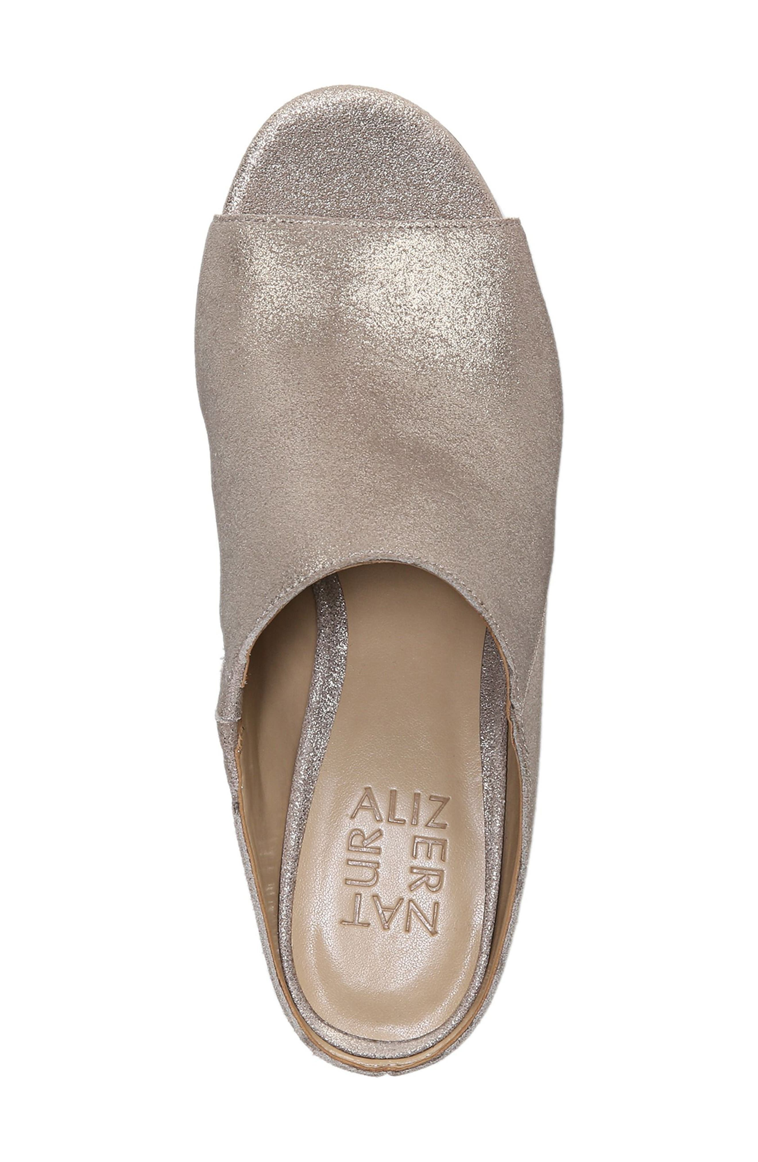 Cyprine Slide Sandal,                             Alternate thumbnail 5, color,                             Champagne Suede
