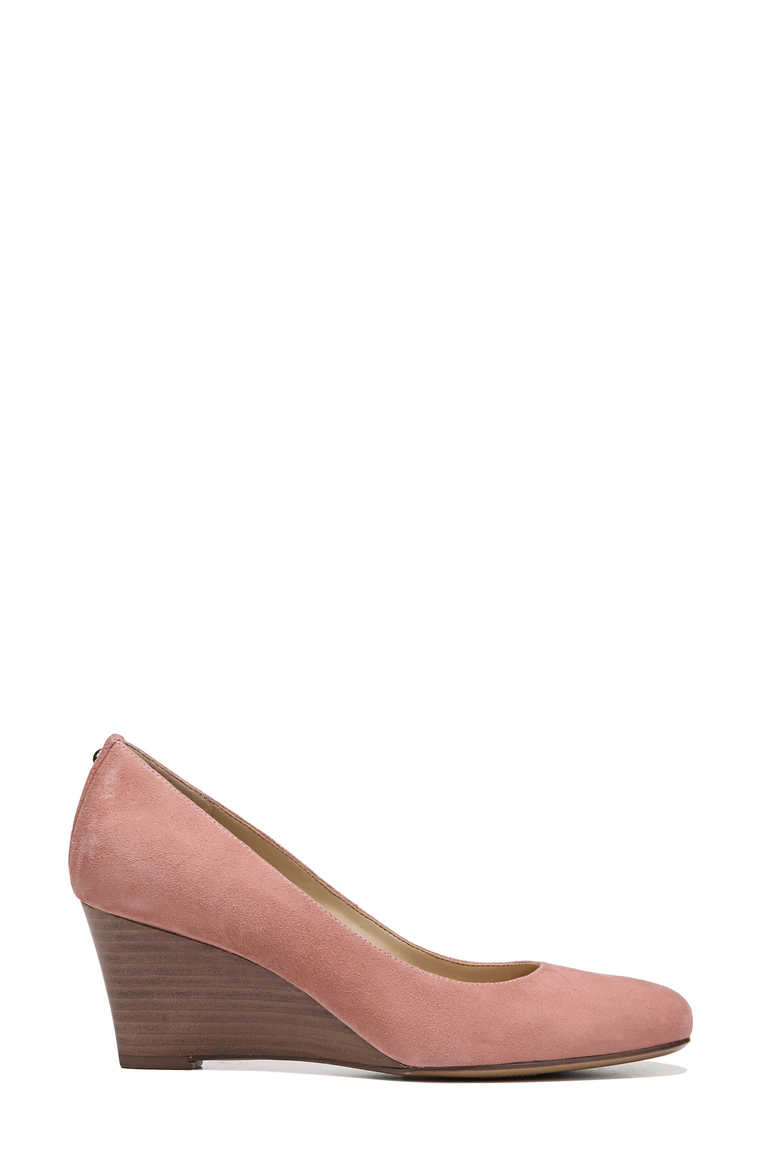 Emily Wedge Pump,                             Alternate thumbnail 3, color,                             Peony Pink Suede