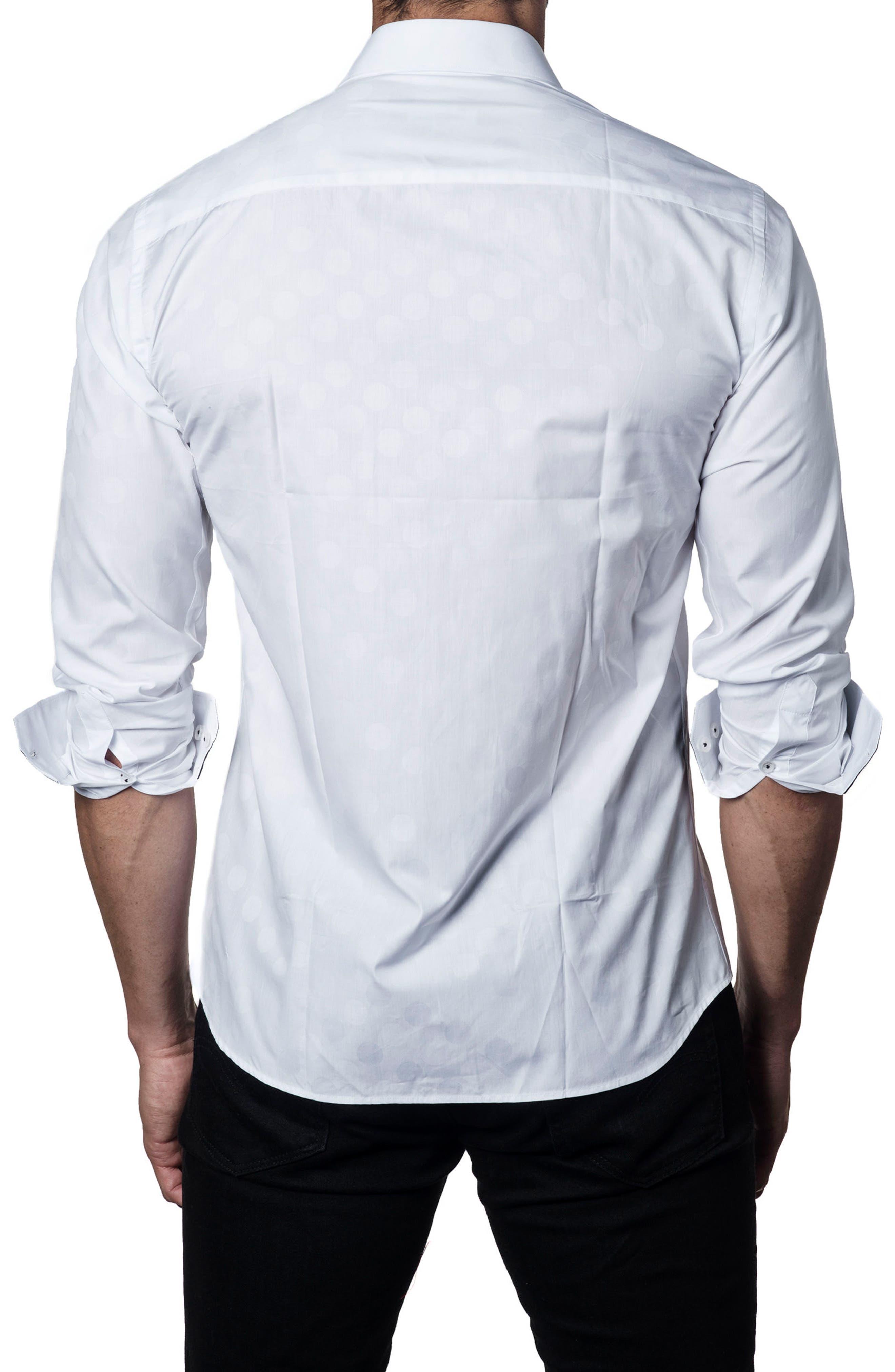 Solid Sport Shirt,                             Alternate thumbnail 2, color,                             White Polka Dot Jacquard