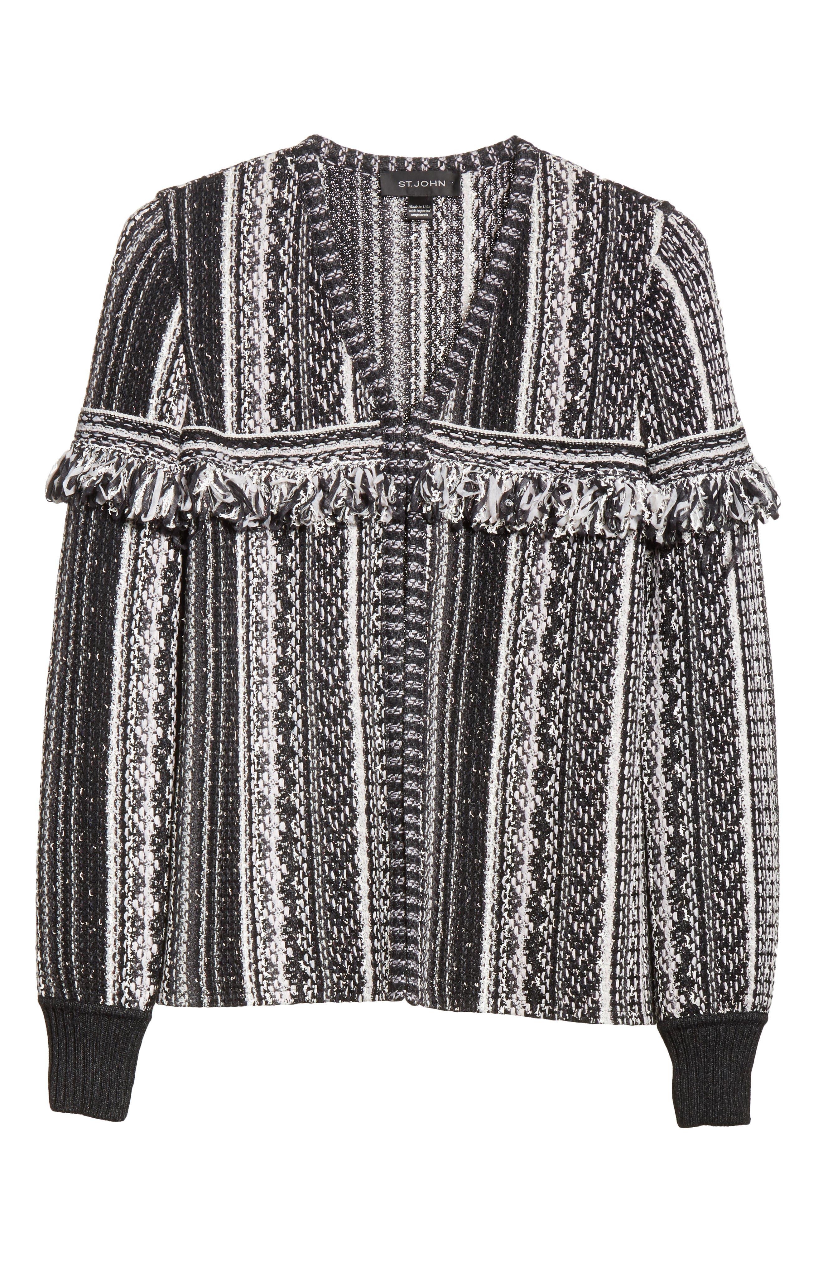 Alternate Image 5  - St. John Collection Fringe Vertical Ombré Stripe Tweed Knit Jacket