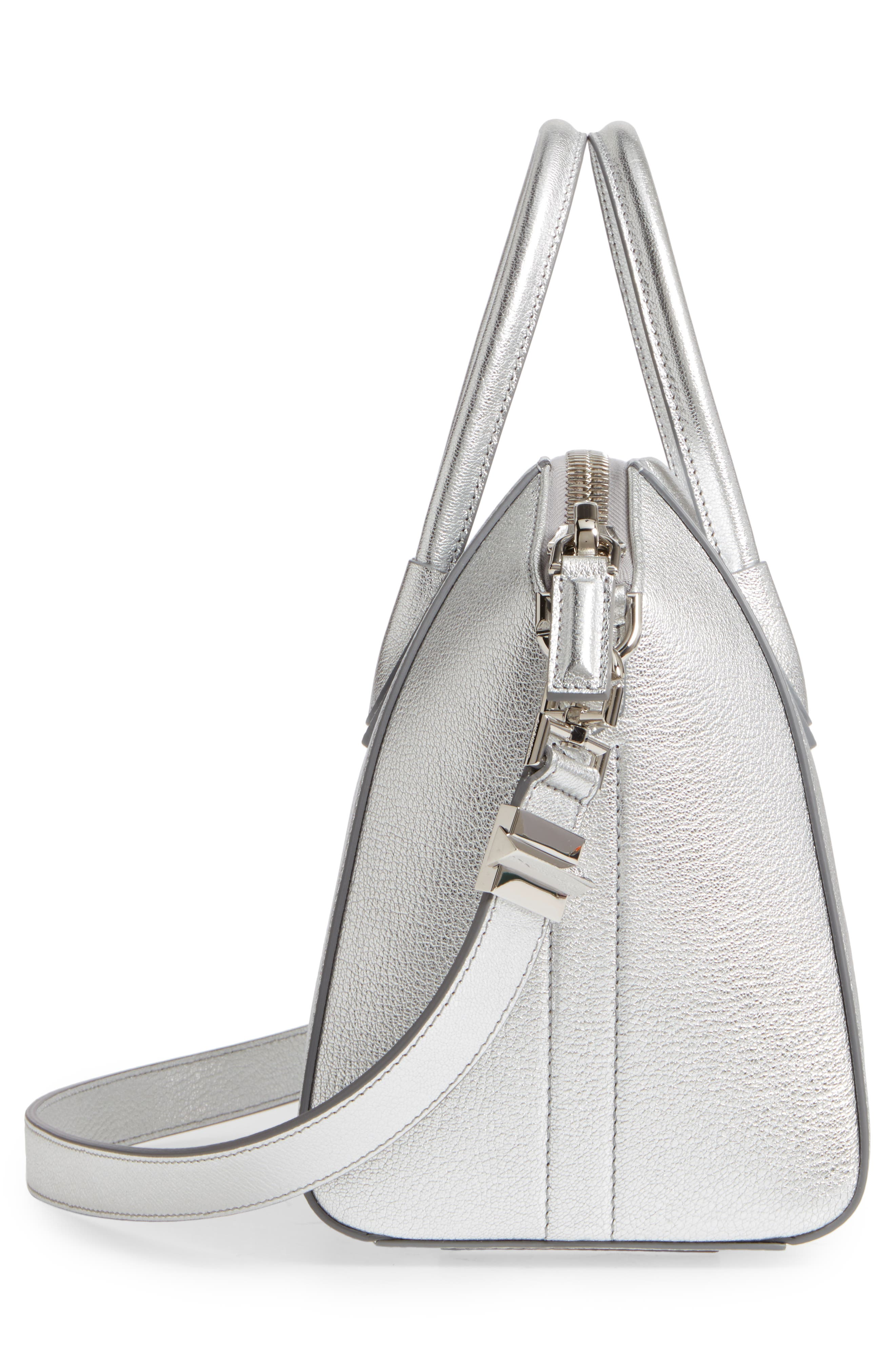 Small Antigona Metallic Leather Satchel,                             Alternate thumbnail 5, color,                             Silver