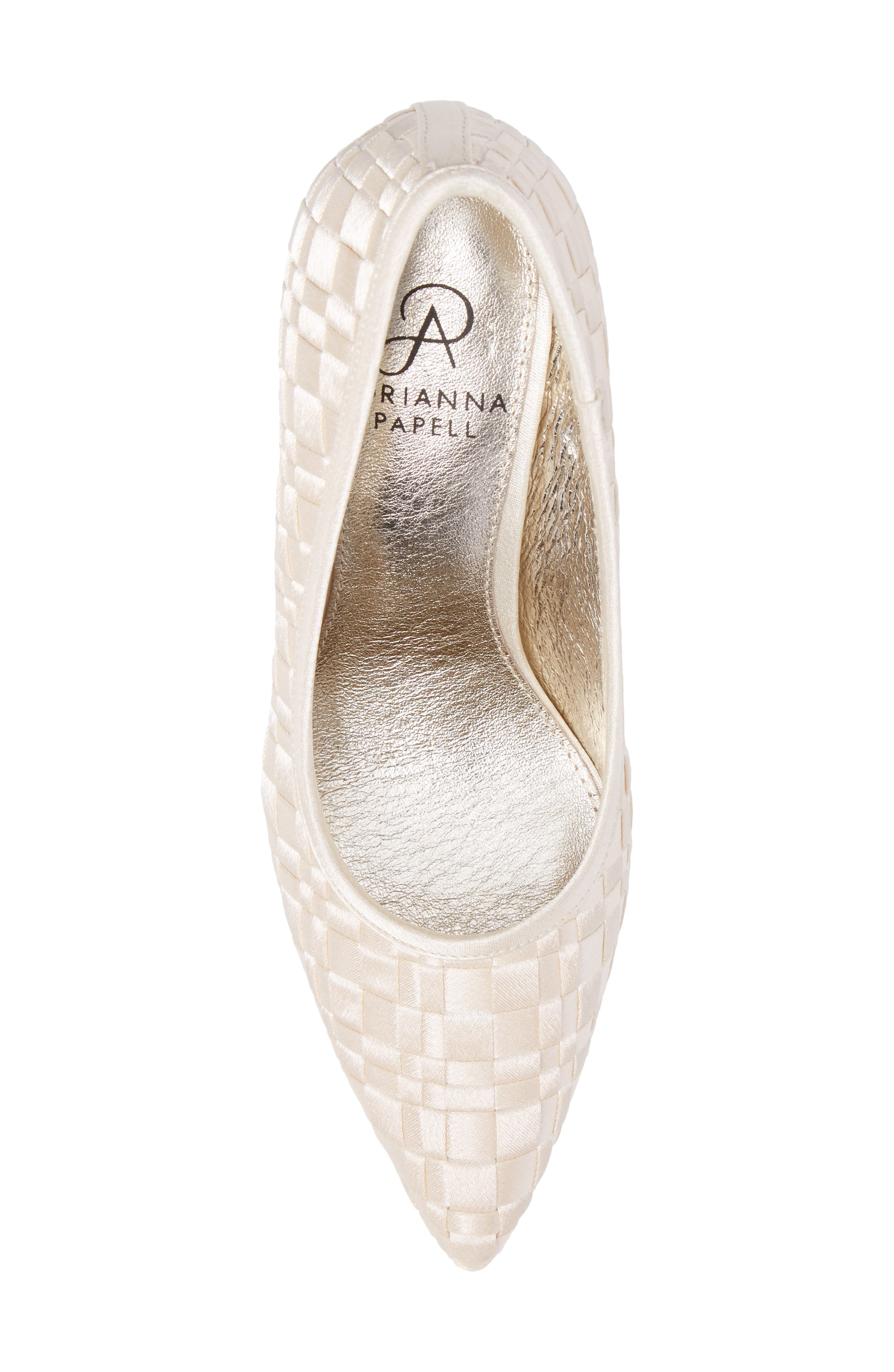 Hasting Pointy Toe Pump,                             Alternate thumbnail 5, color,                             Champagne Satin