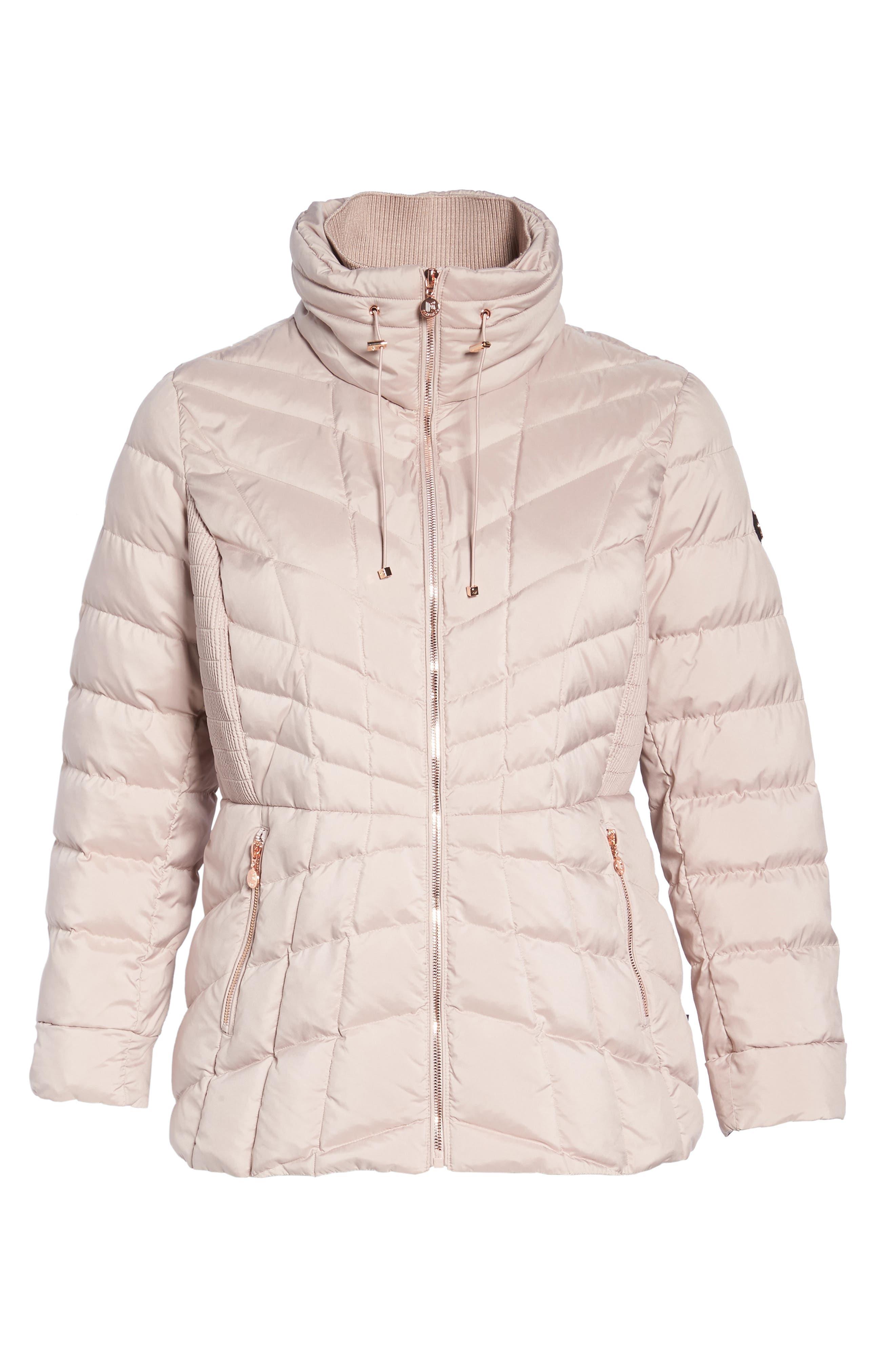 Packable Water Resistant Down & PrimaLoft<sup>®</sup> Coat,                             Alternate thumbnail 6, color,                             Petal Pink/ Snow Leopard