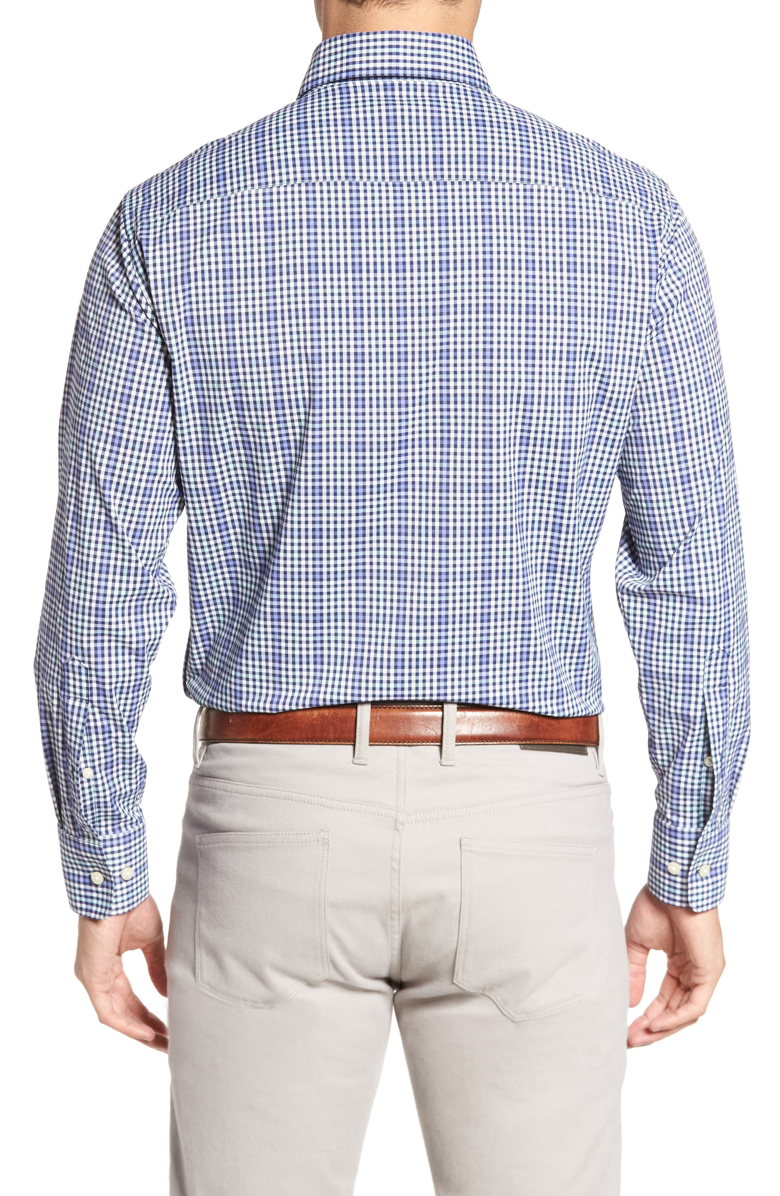 Classic Fit Collier Plaid Performance Sport Shirt,                             Alternate thumbnail 2, color,                             Thunderbird