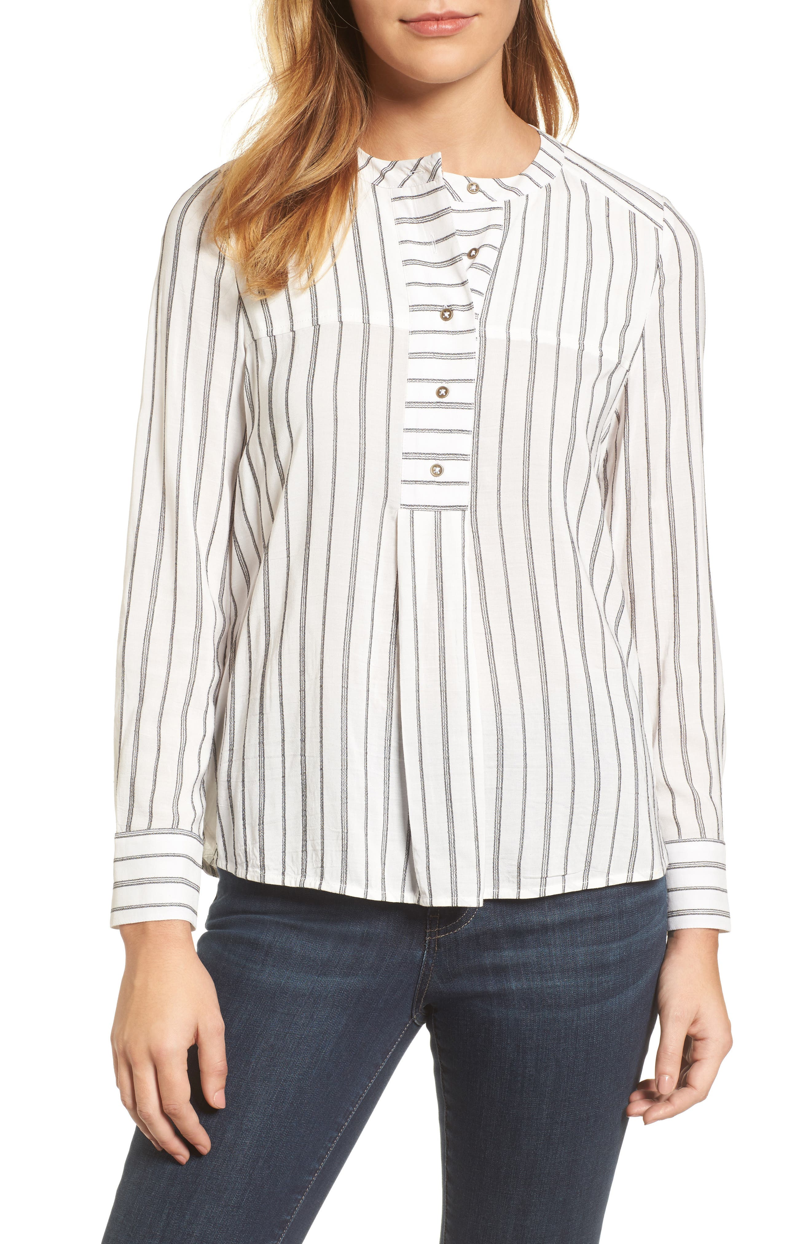 Alternate Image 1 Selected - Lucky Brand Woven Stripe Top