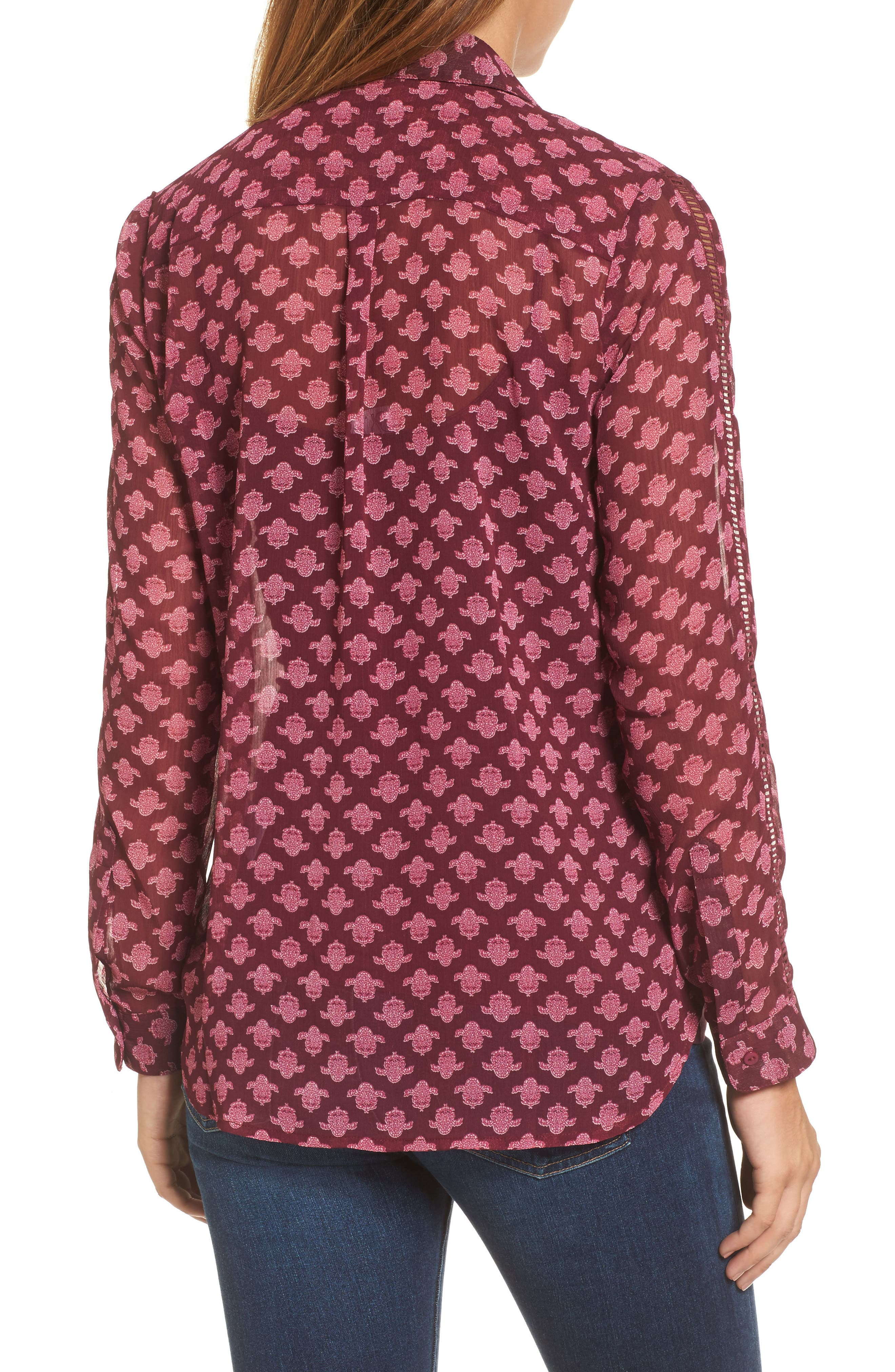 Eve Print Semi-Sheer Blouse,                             Alternate thumbnail 2, color,                             Dark Berry