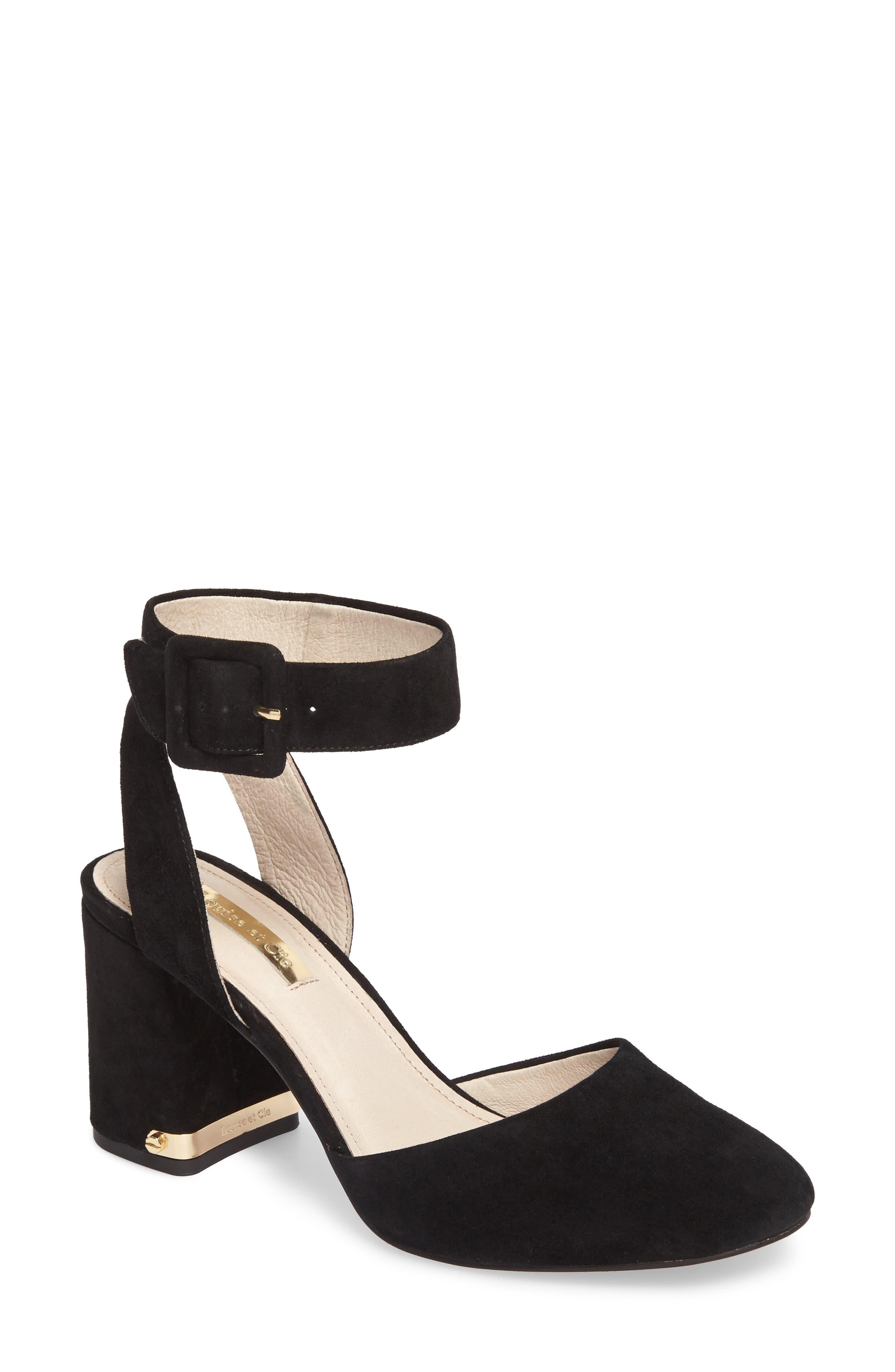 Ines Ankle Strap Pump,                         Main,                         color, Black Suede