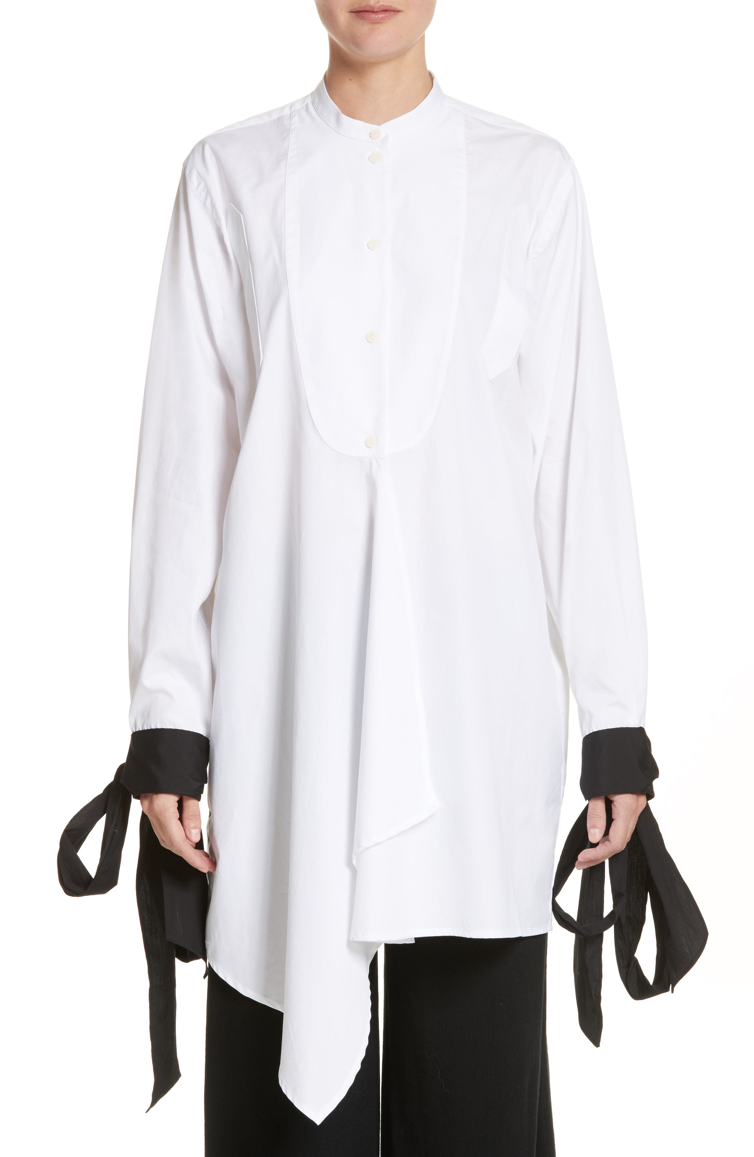 J.W.ANDERSON Bib Blouse with Contrast Tie Cuffs