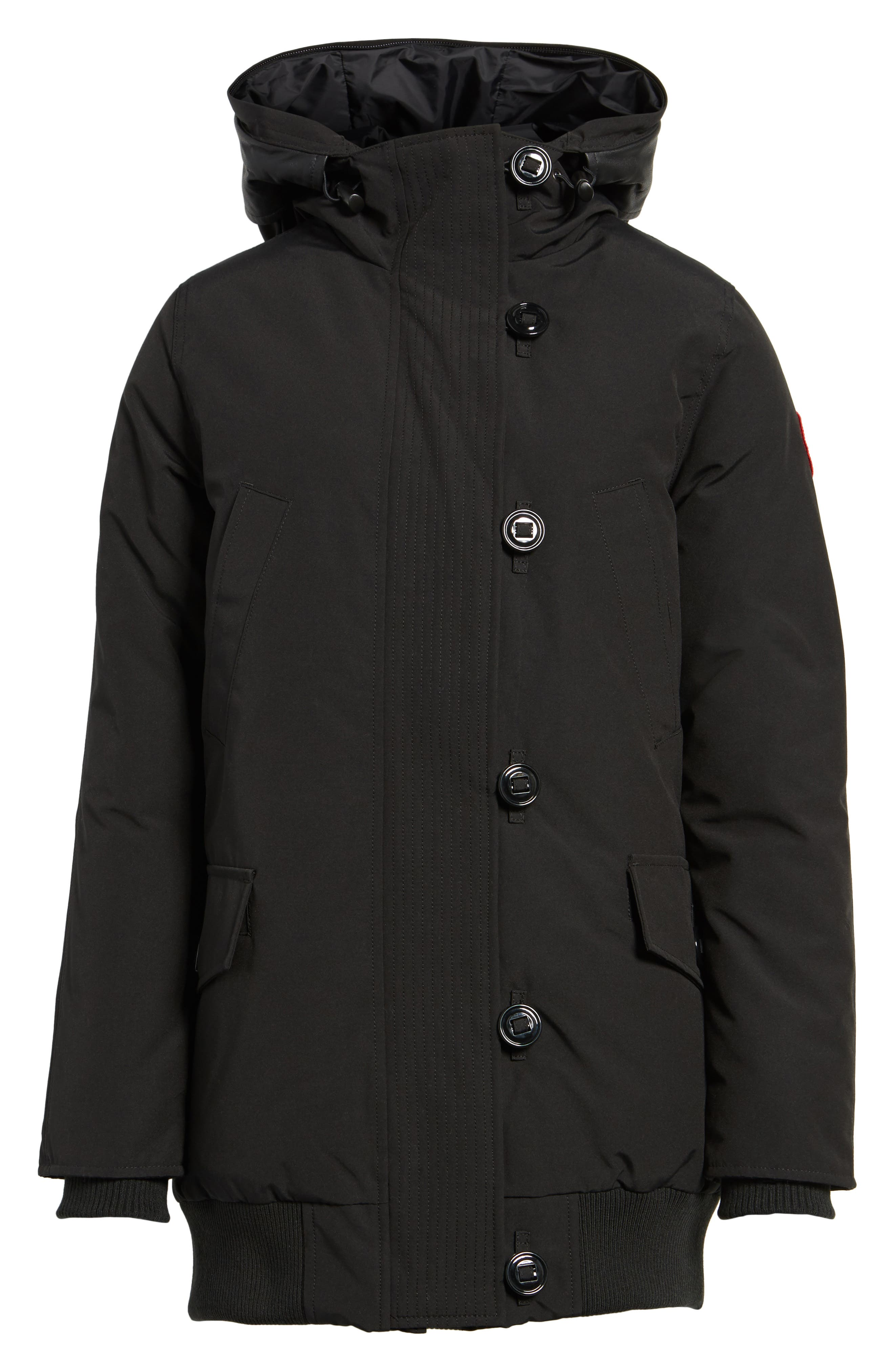 Finnegan 625-Fill Power Down Parka with Genuine Shearling Hood Lining,                             Alternate thumbnail 7, color,                             Black