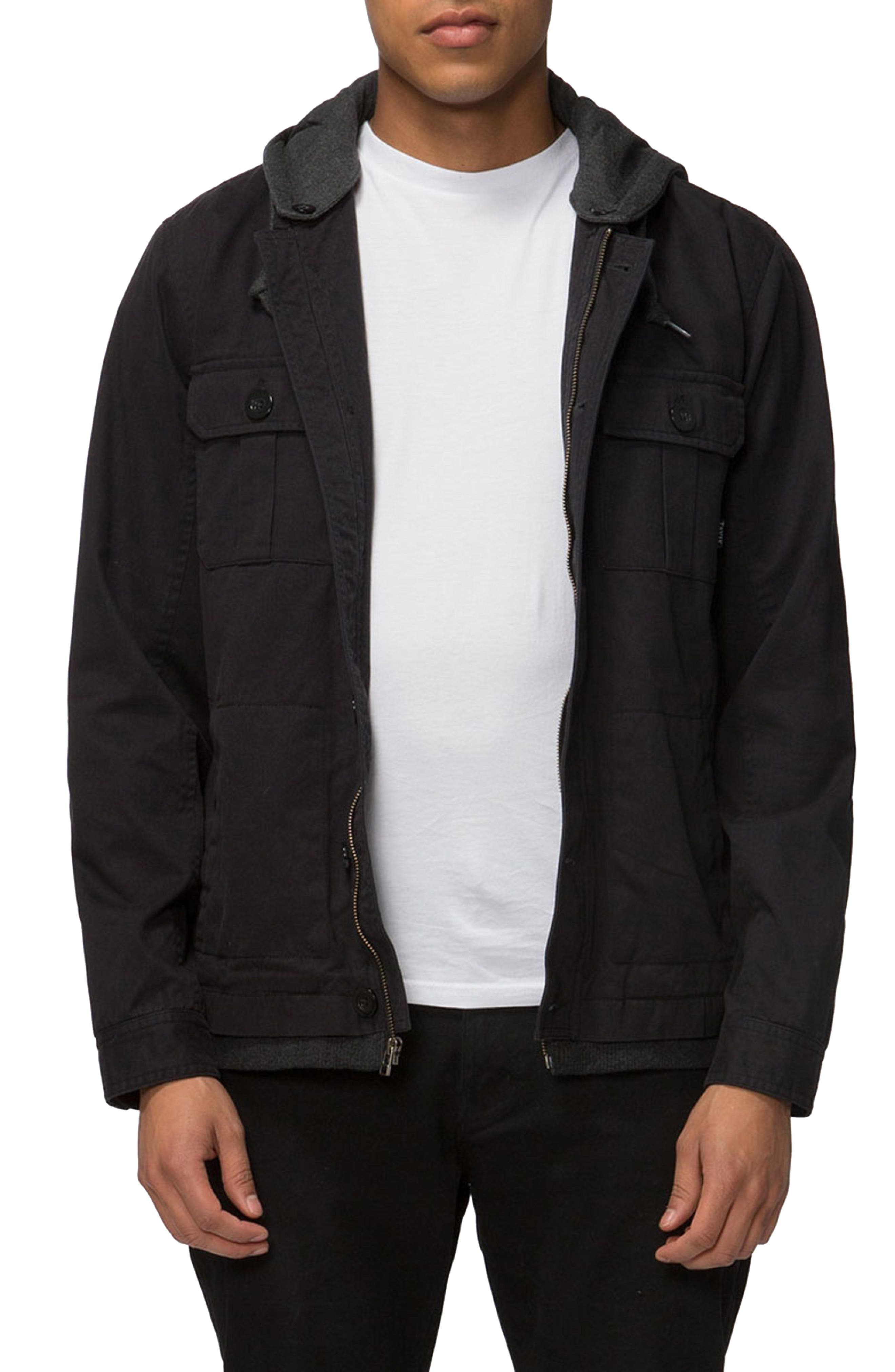 Droogs Field Jacket with Detachable Hood,                         Main,                         color, Black/ Heather Black