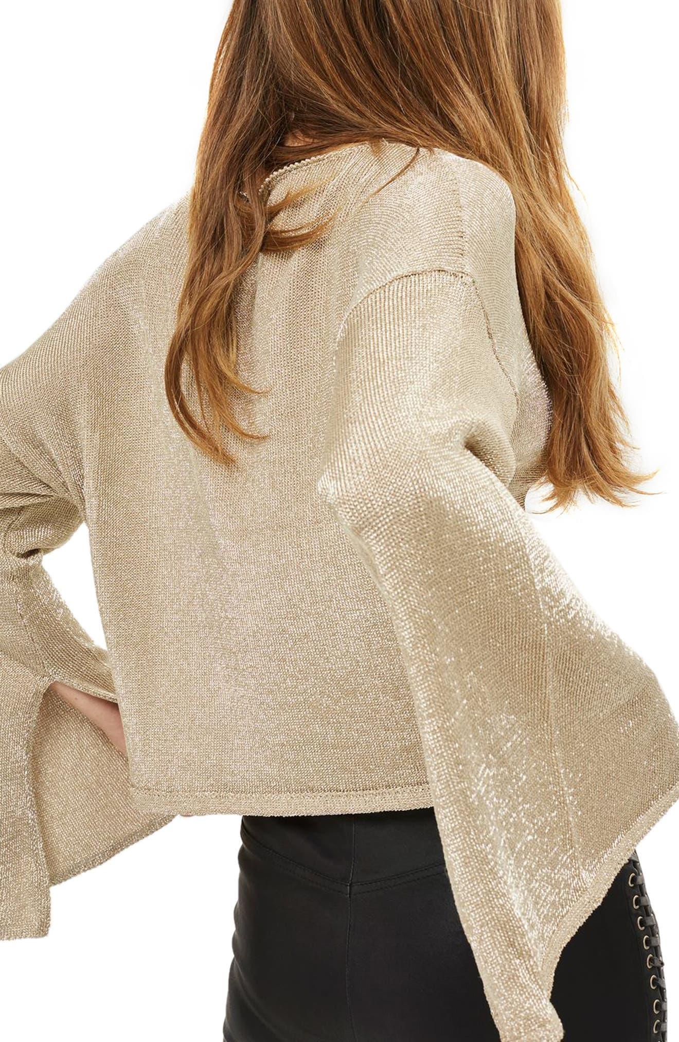 Metallic Flute Sleeve Crop Sweater,                             Alternate thumbnail 2, color,                             Gold