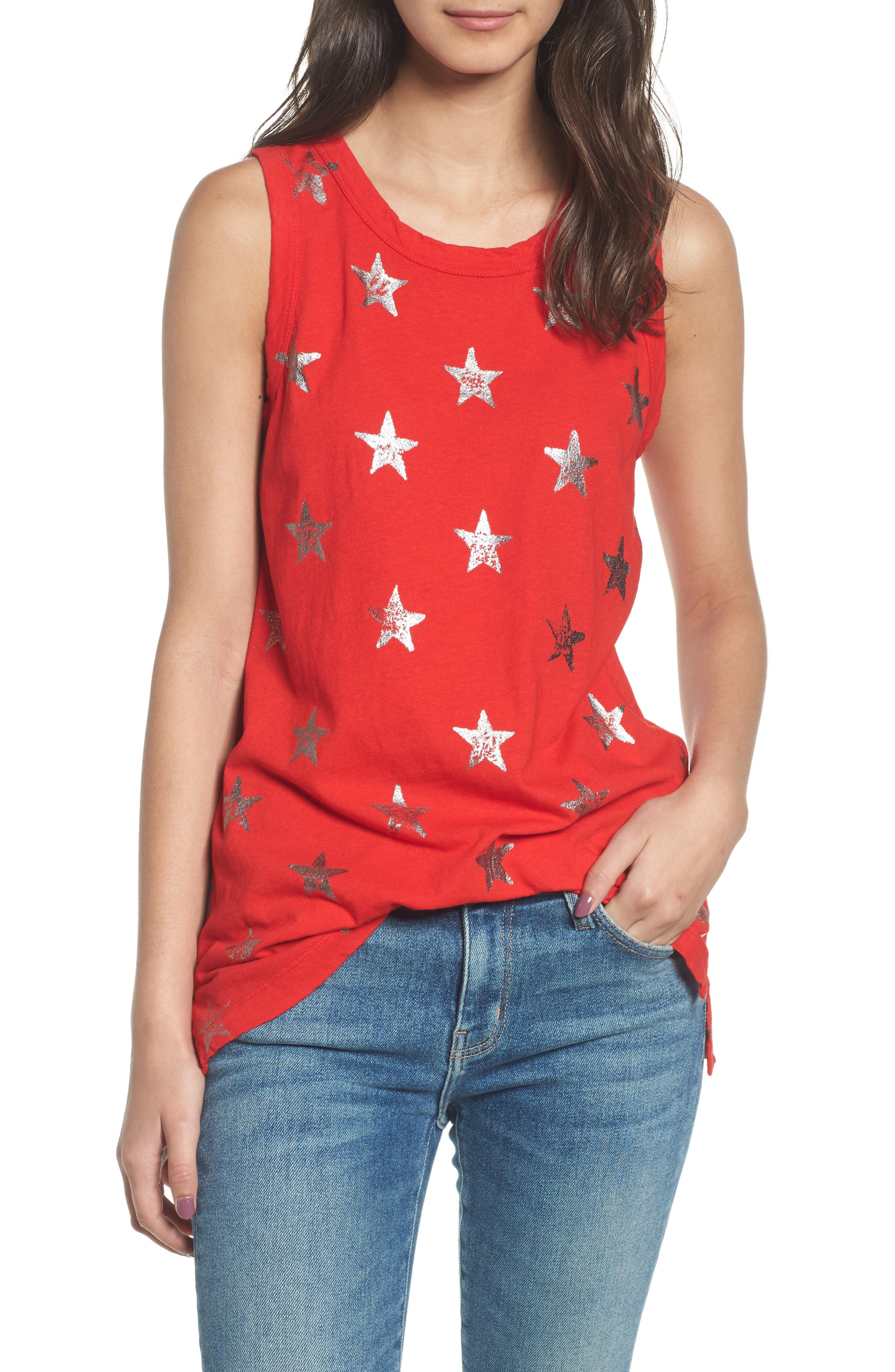 The Muscle Tee,                             Main thumbnail 1, color,                             Red Foil Star