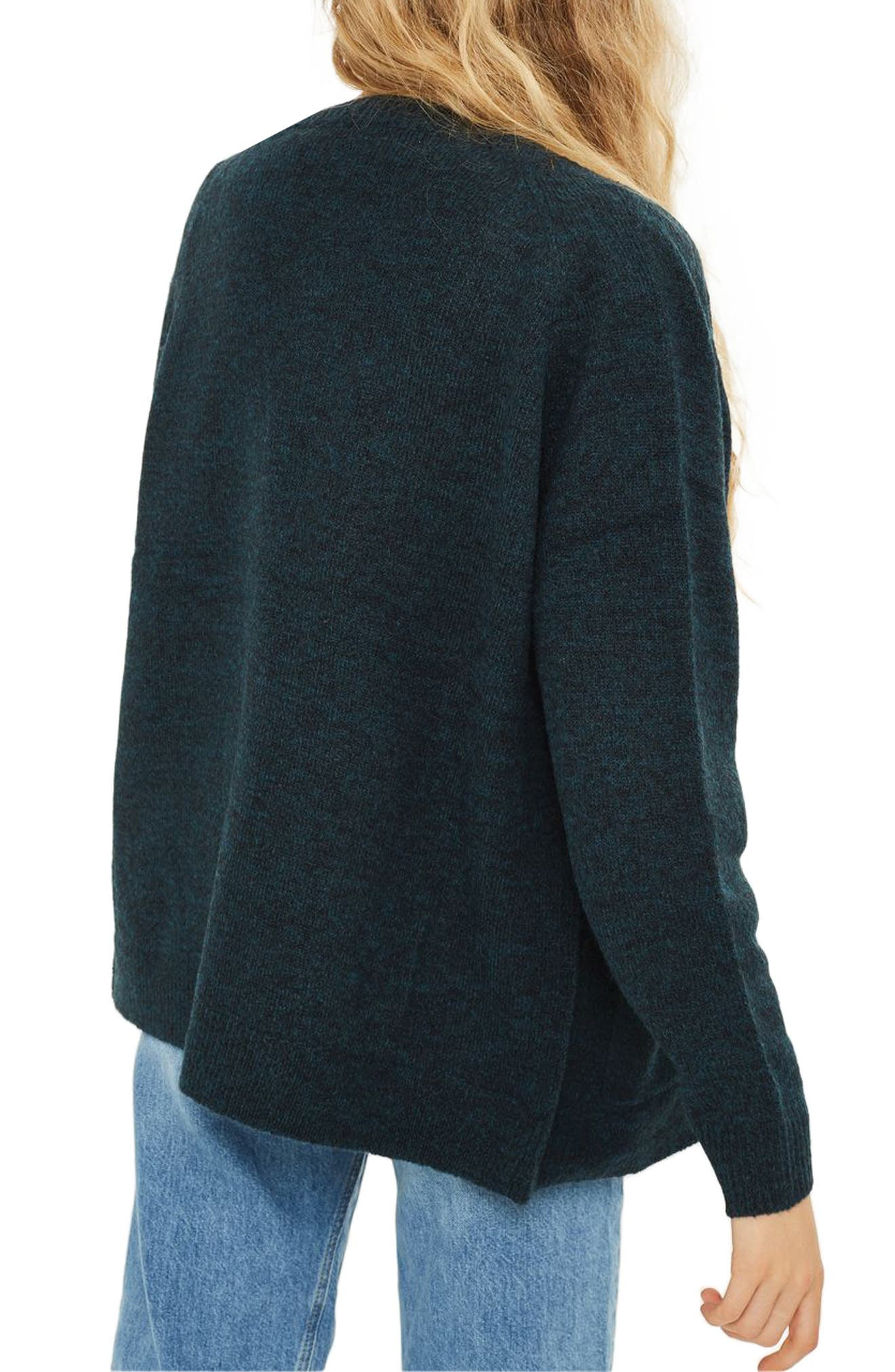Snap Front Marled Cardigan,                             Alternate thumbnail 3, color,                             Teal