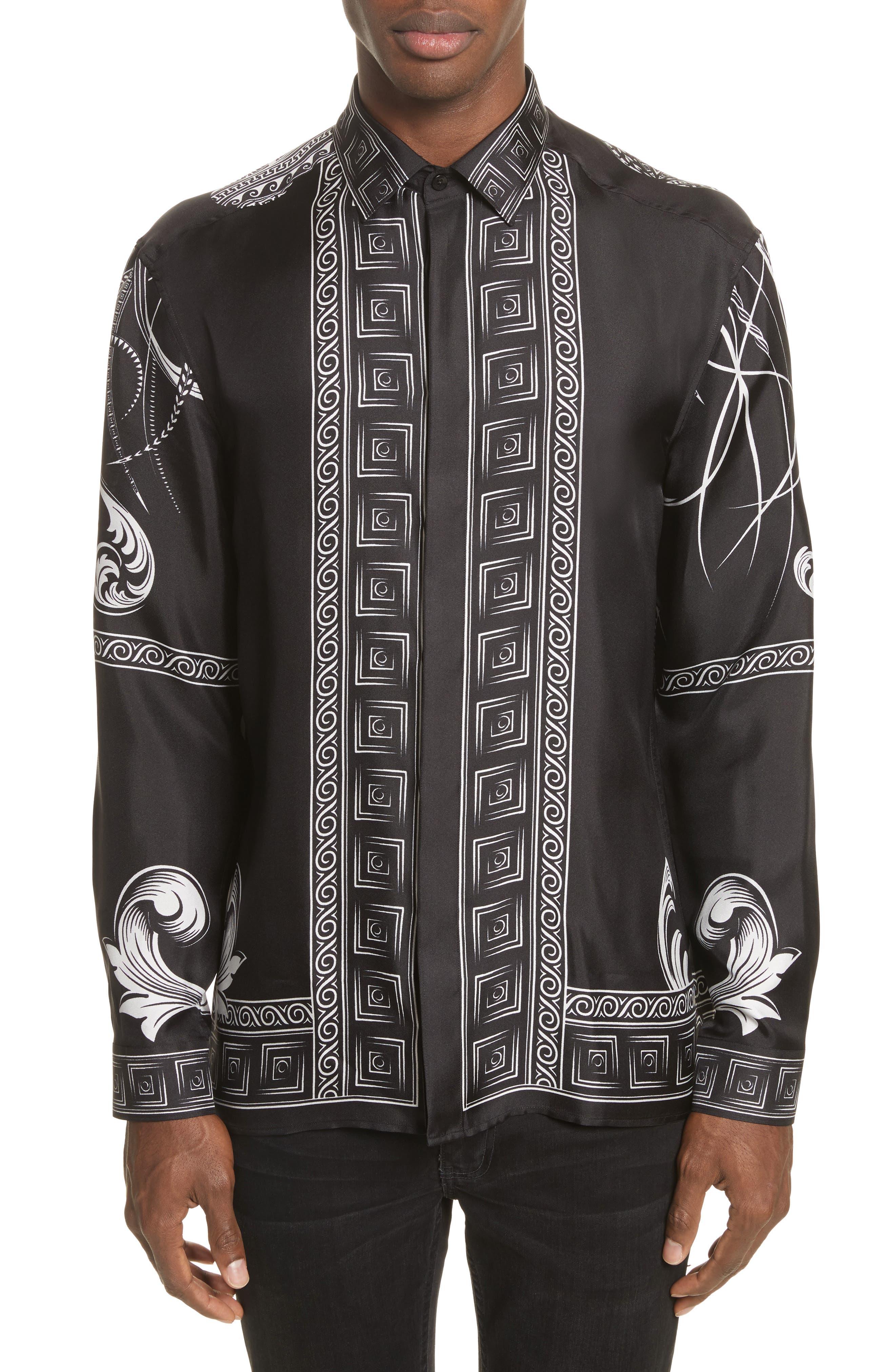 Print Silk Shirt,                             Main thumbnail 1, color,                             Black Paint