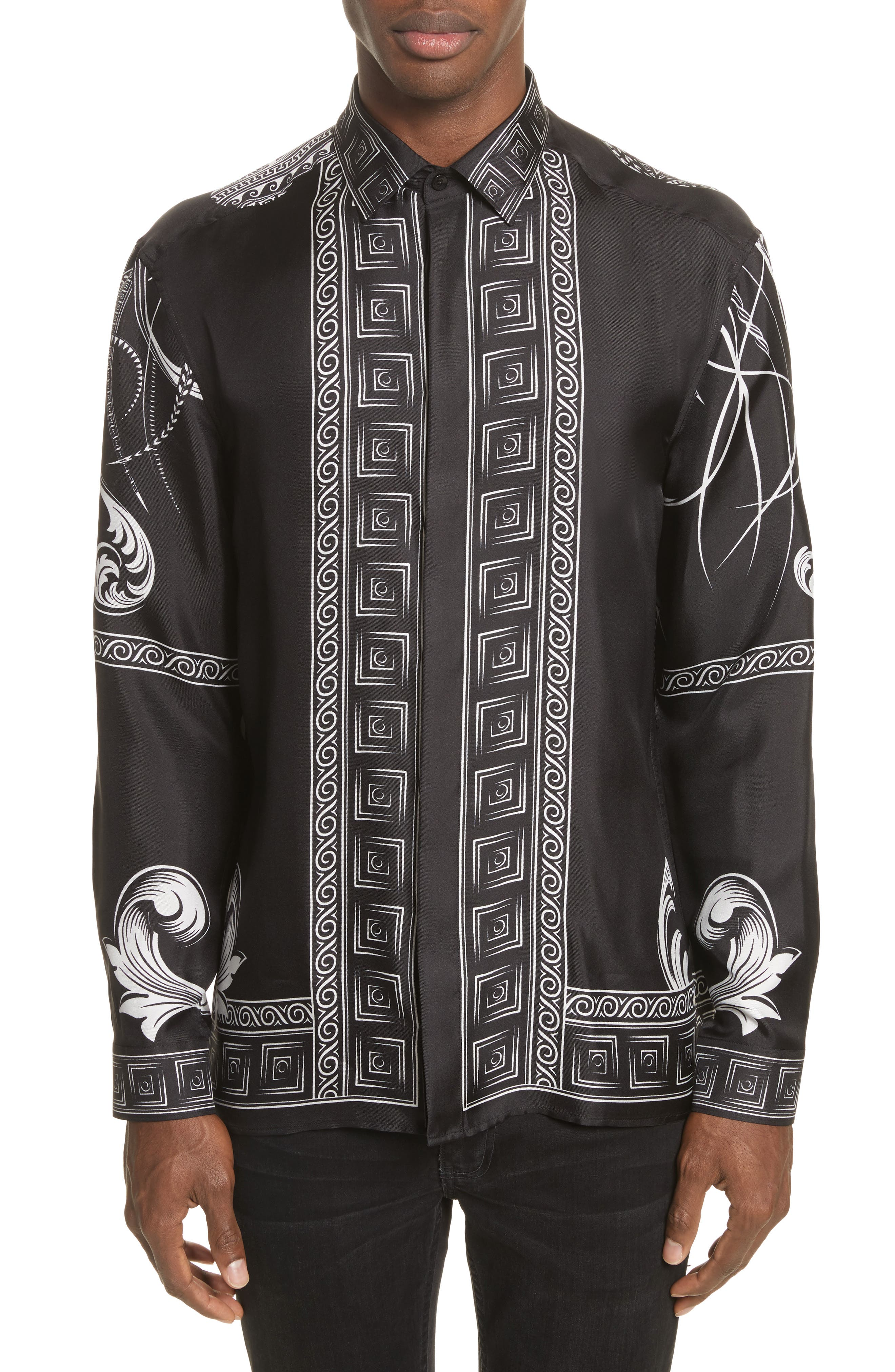 Print Silk Shirt,                         Main,                         color, Black Paint