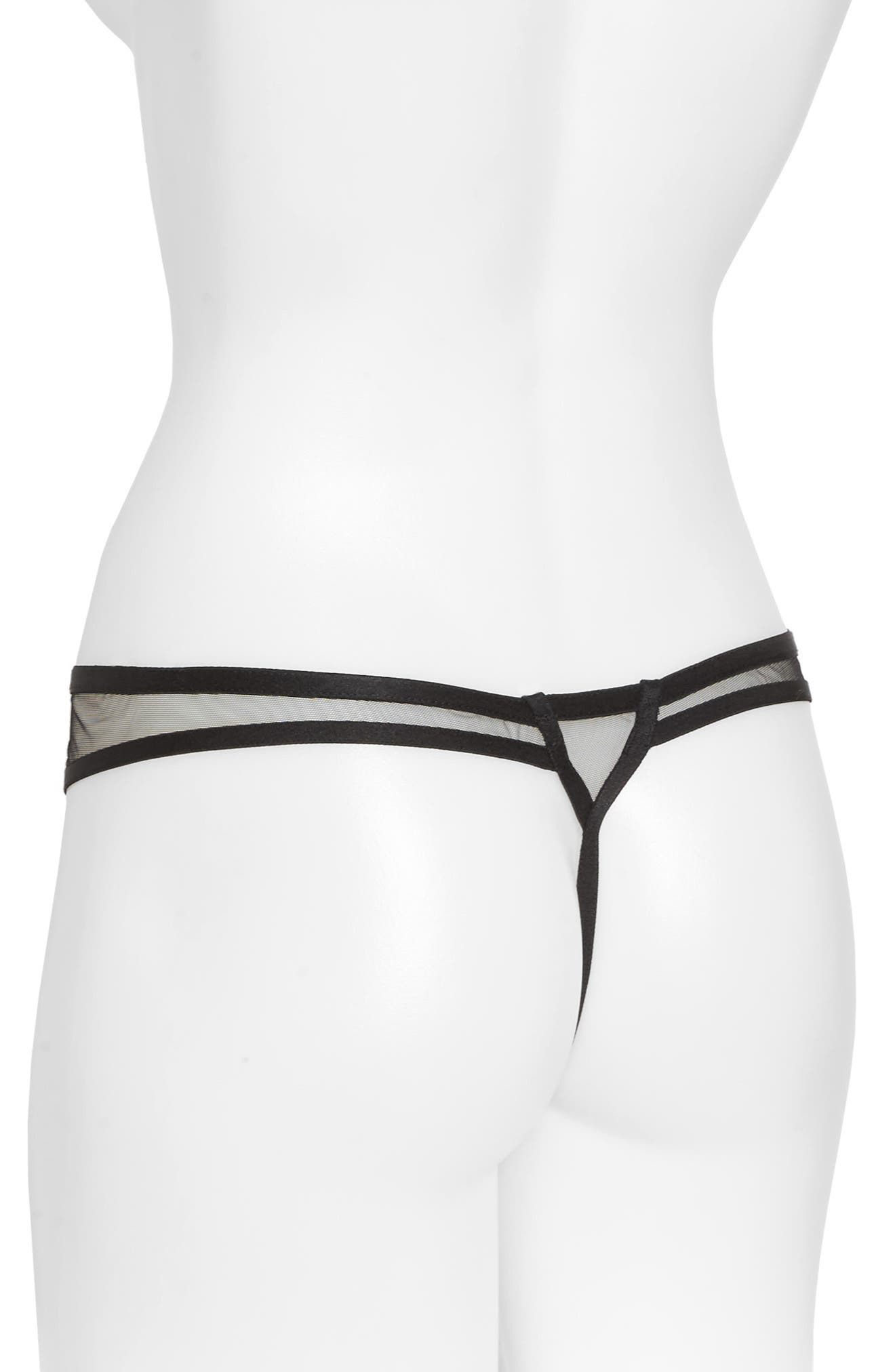 Exotique G-String Thong,                             Alternate thumbnail 2, color,                             Black/ Nude