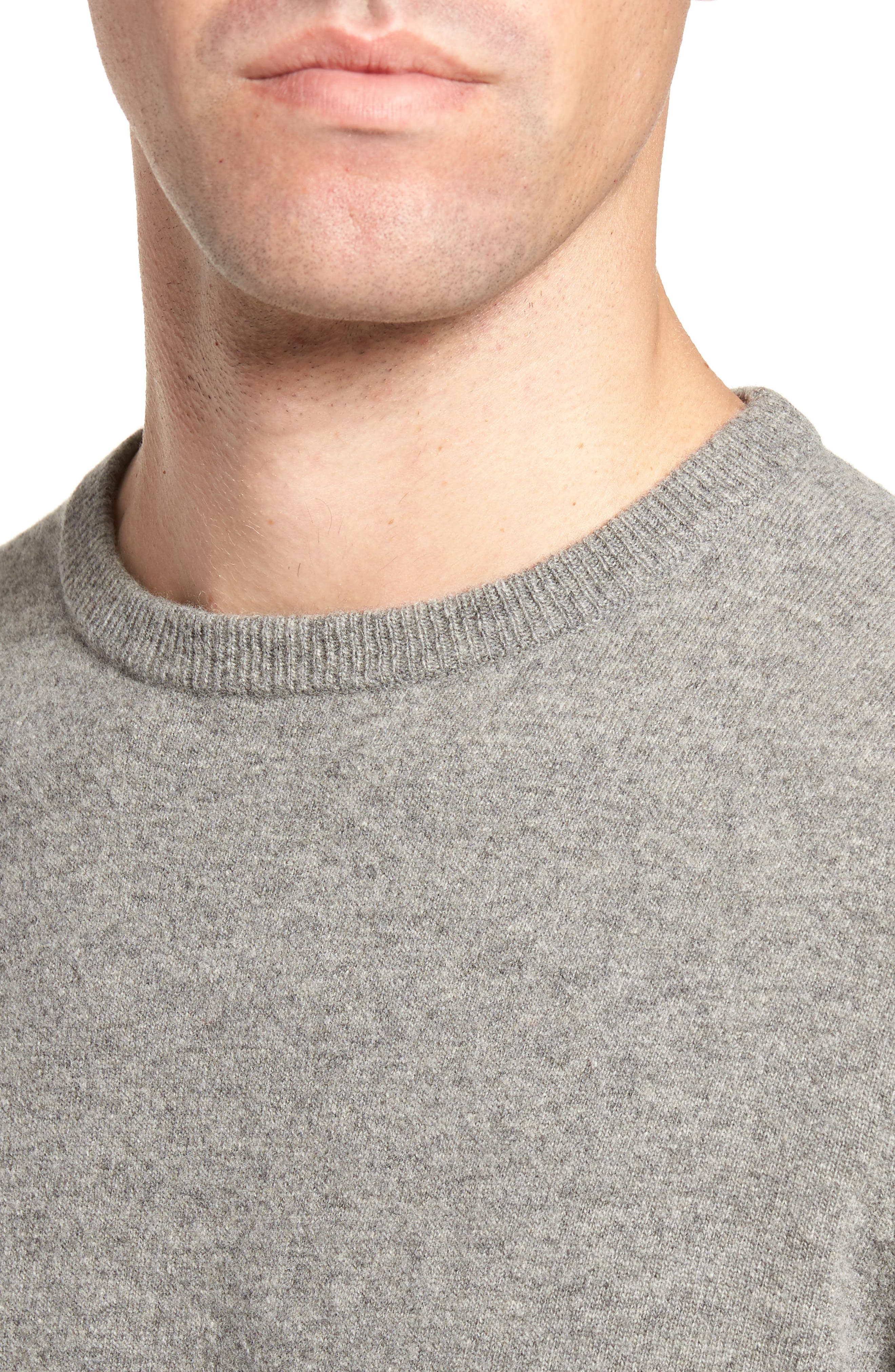 Skier Wool Blend Sweater,                             Alternate thumbnail 4, color,                             Mid Grey/ Crimson