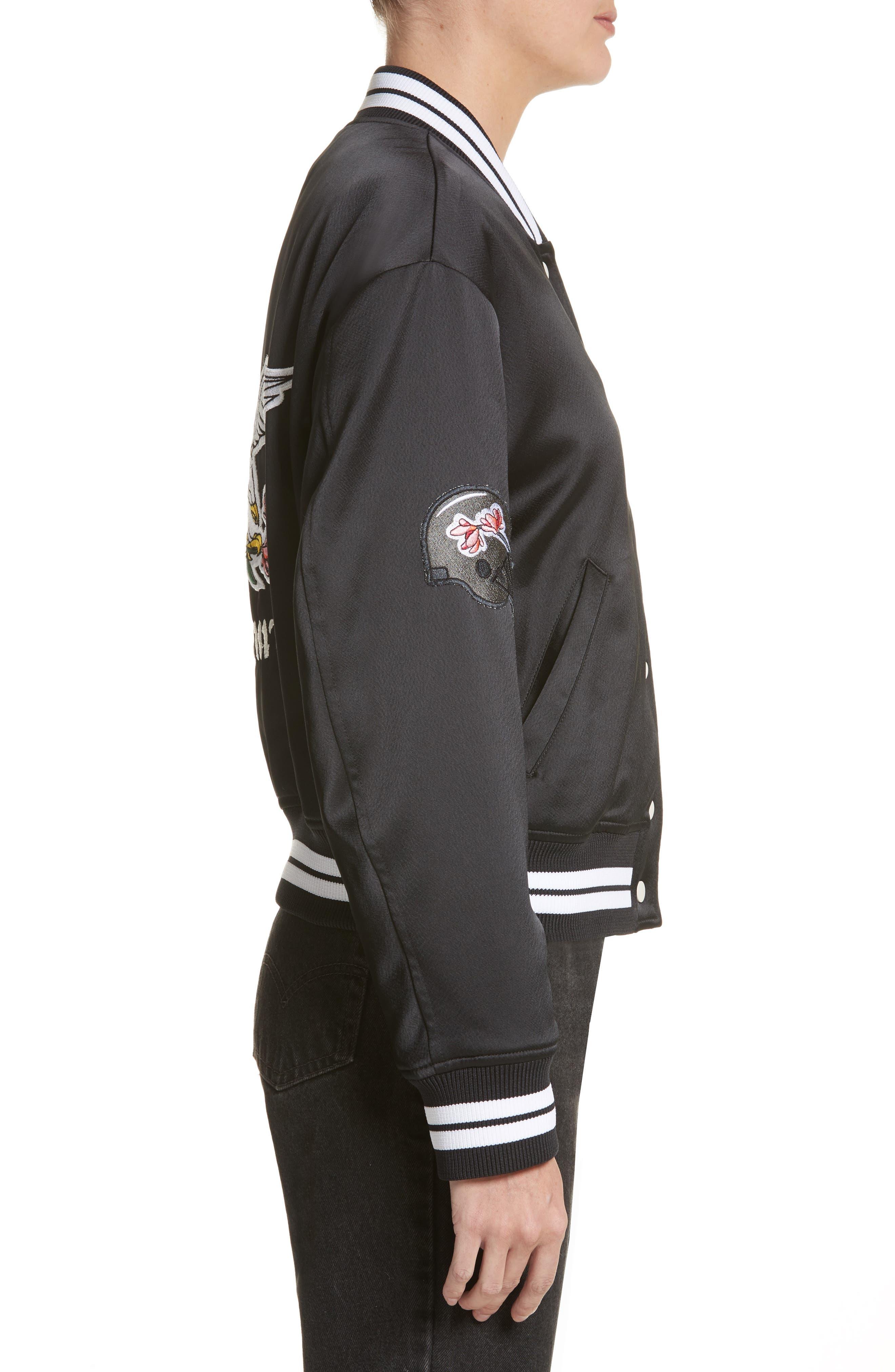 Varsity Bomber Jacket,                             Alternate thumbnail 3, color,                             Black/ White