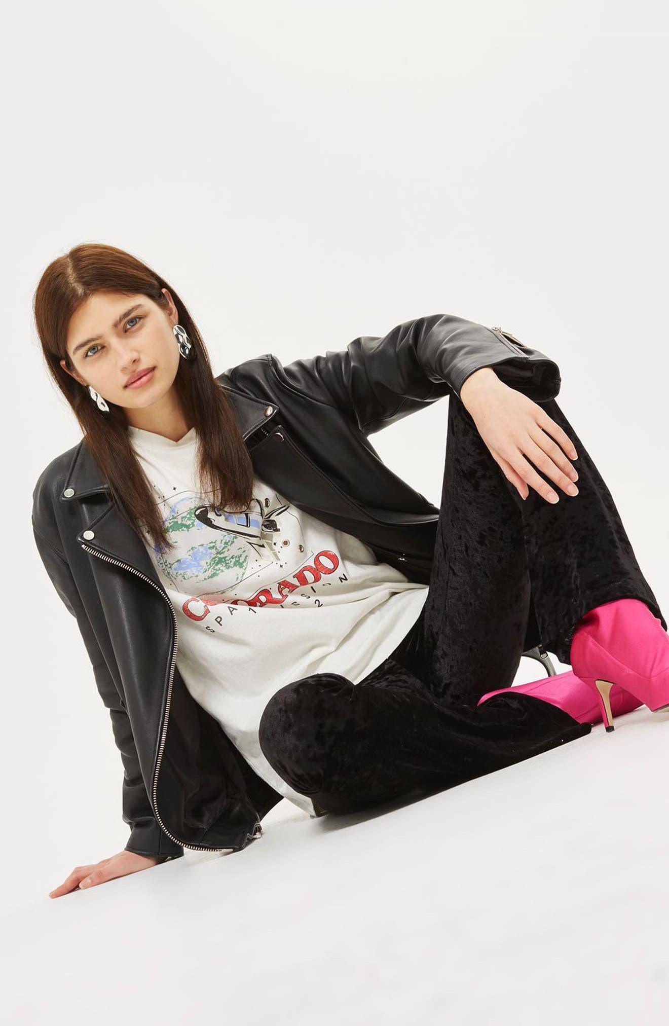 Alternate Image 2  - Topshop Velvet Flare Leg Trousers