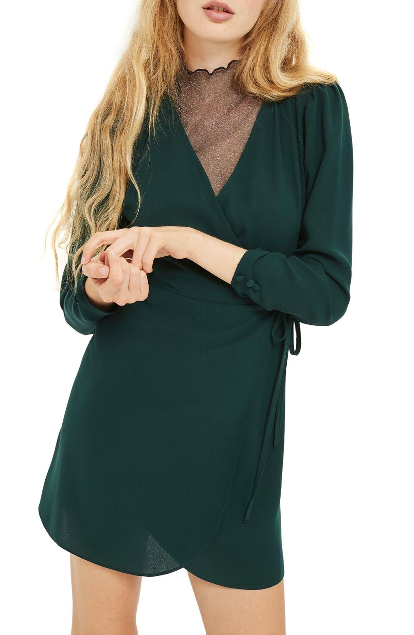Crepe Wrap Minidress,                         Main,                         color, Bottle