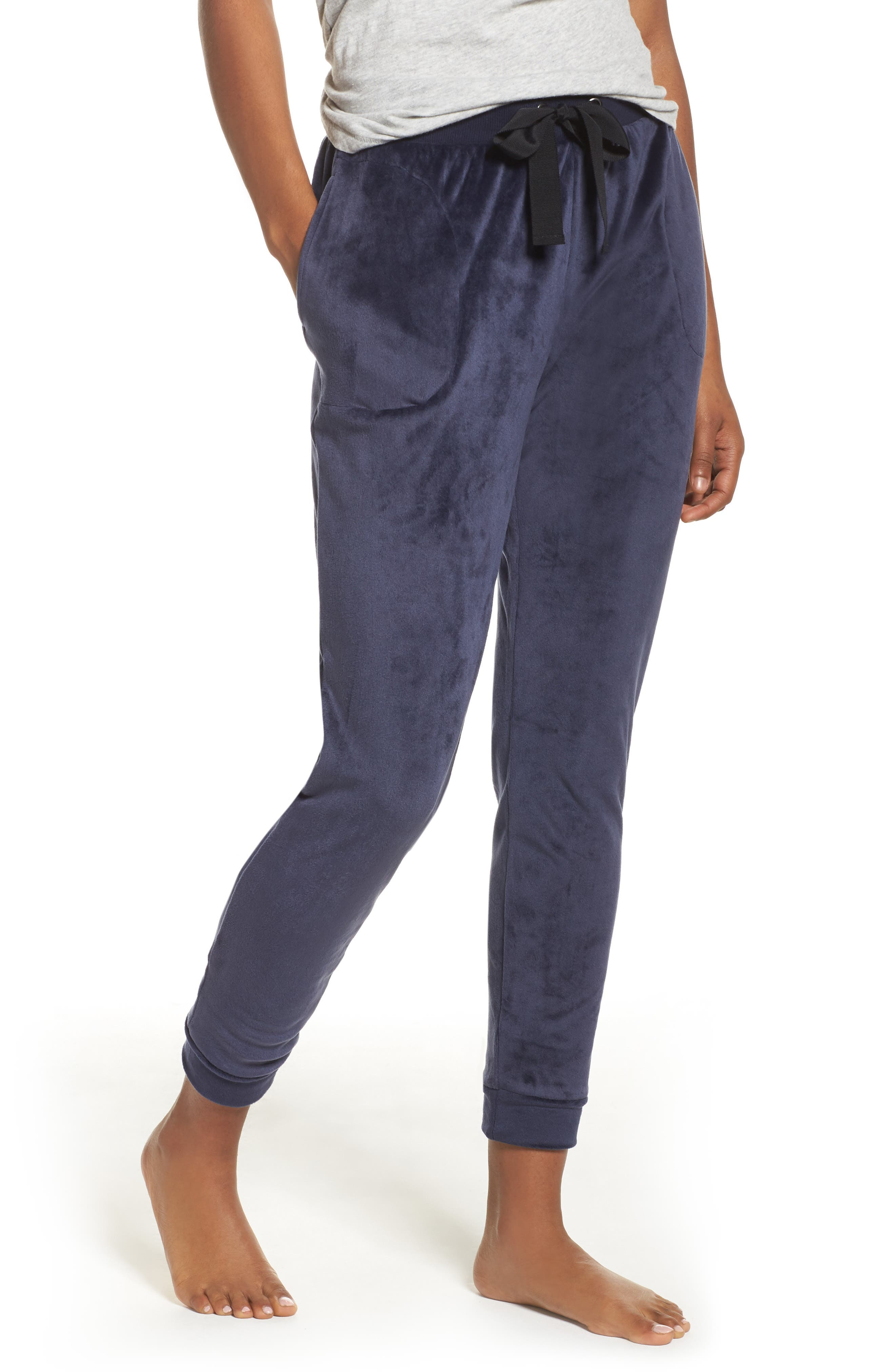 Luxury Plush Lounge Jogger Pants,                             Main thumbnail 1, color,                             Blue