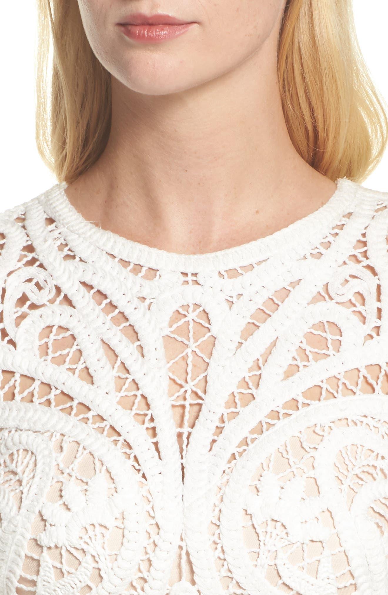 Crochet Lace & Crepe Gown,                             Alternate thumbnail 4, color,                             Ivory/ Black