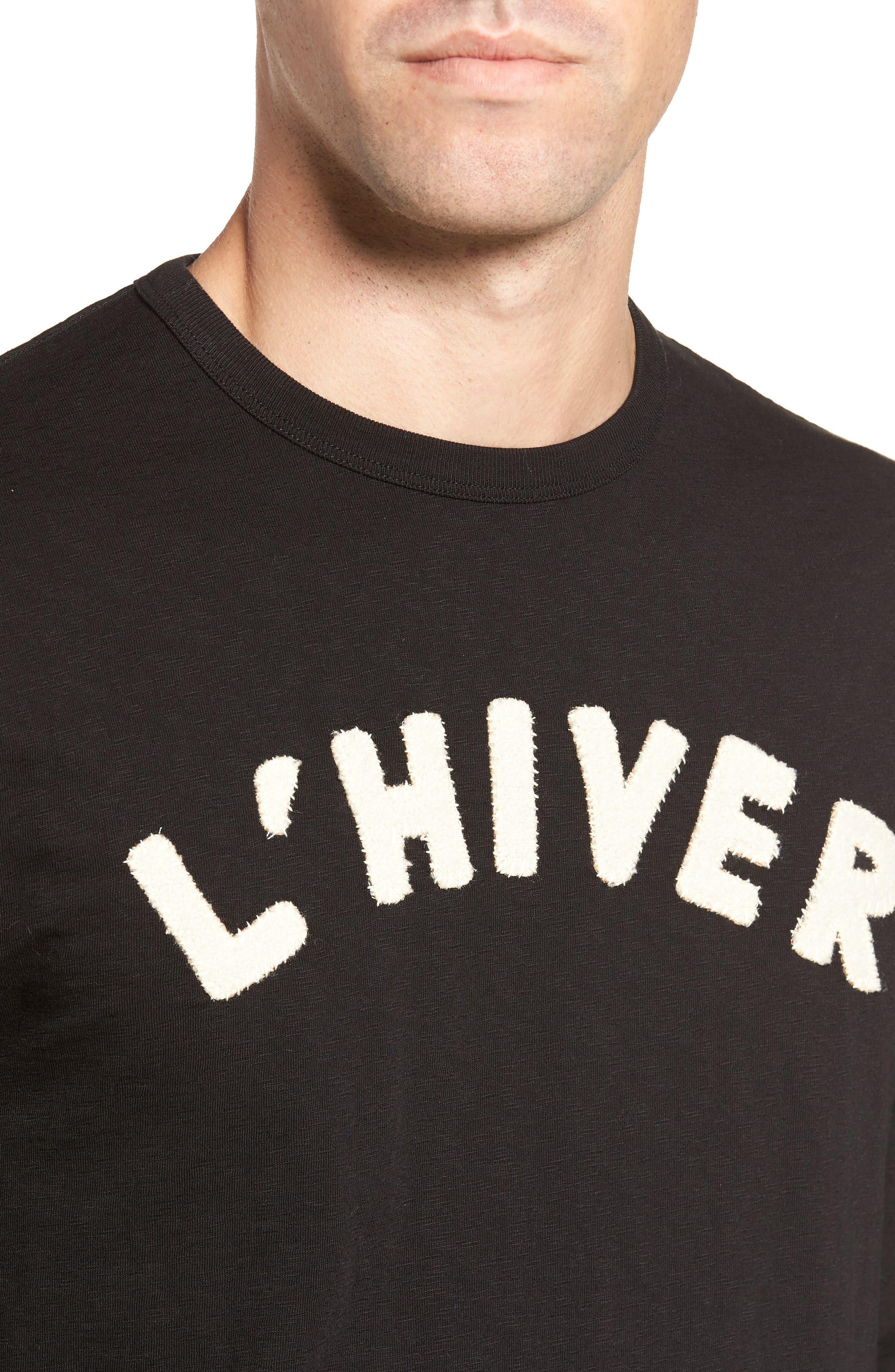 L'Hiver Regular Fit Long Sleeve T-shirt,                             Alternate thumbnail 4, color,                             Black/ Clay