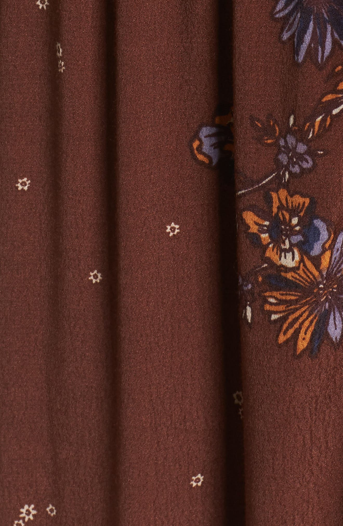 Jenny Maxi Dress,                             Alternate thumbnail 5, color,                             Dark Chocolate Pansies